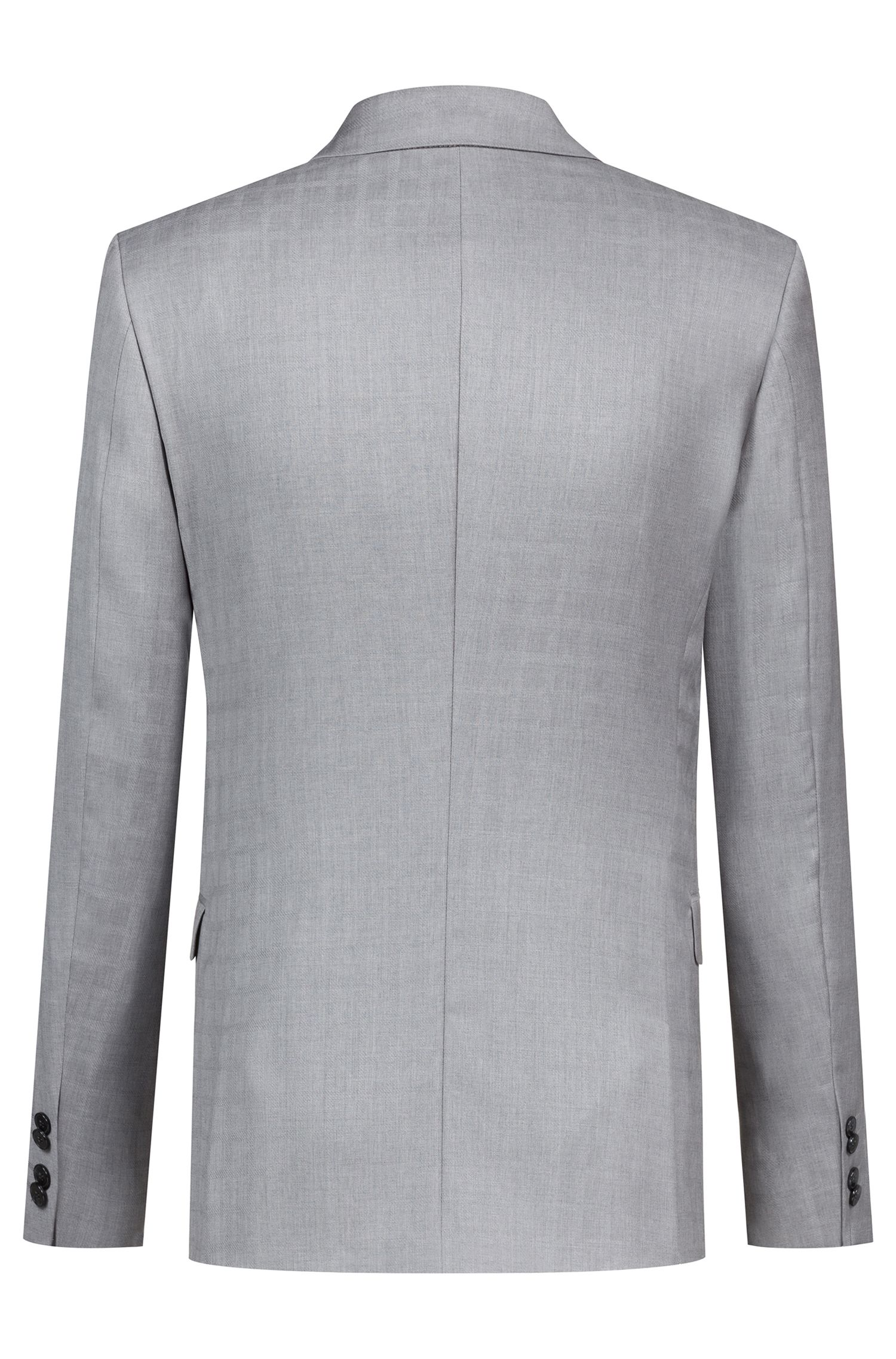 Extra-slim-fit suit in plain-check virgin wool, Open Grey