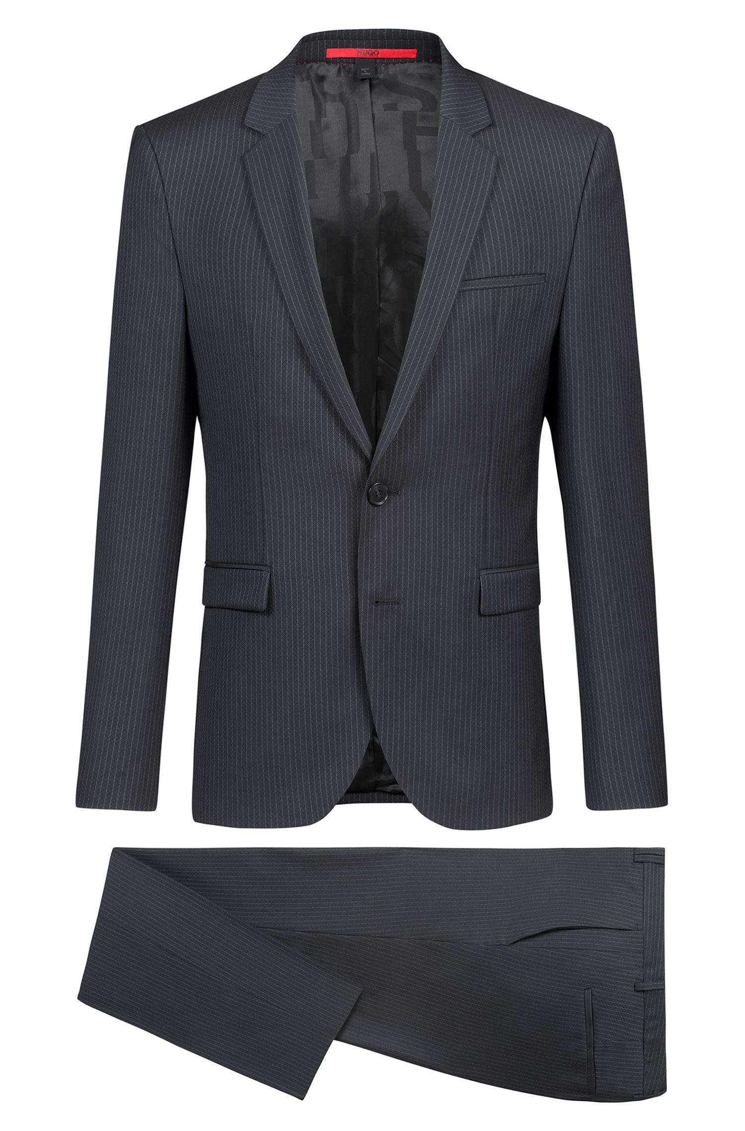 Extra-slim-fit suit in striped virgin wool, Dark Green