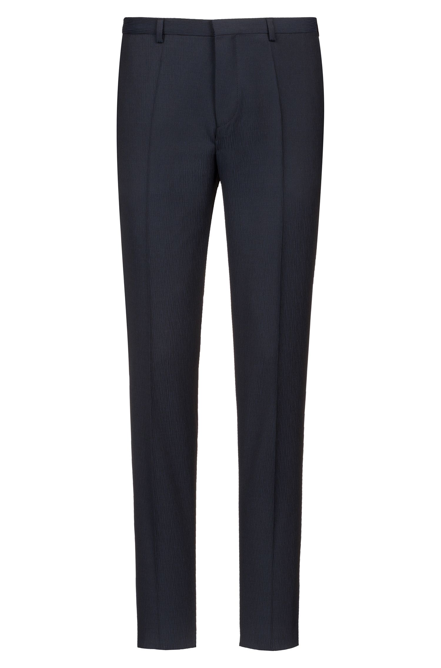 Extra-slim-fit suit in structured virgin wool, Dark Blue
