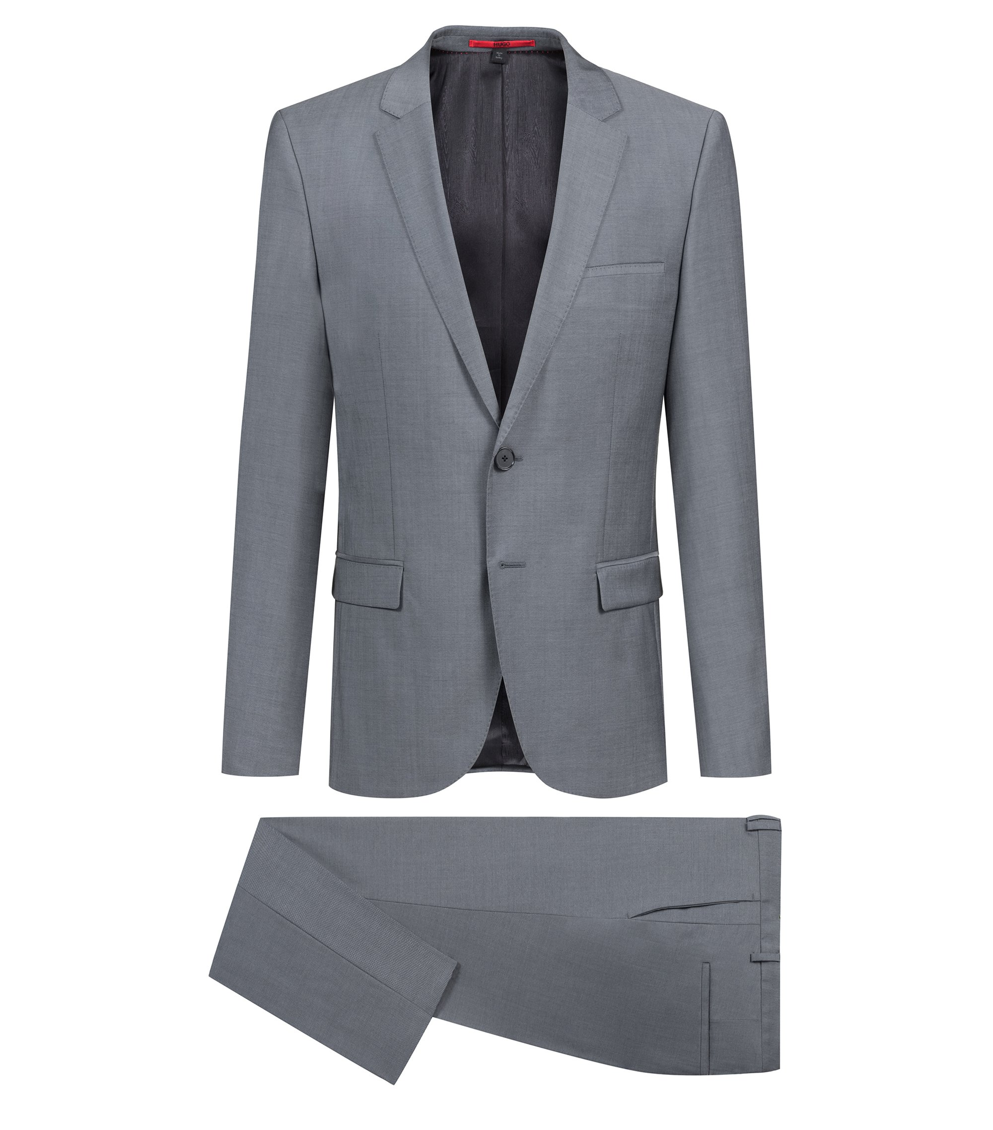 Extra-slim-fit suit in mohair-look virgin wool, Dark Grey