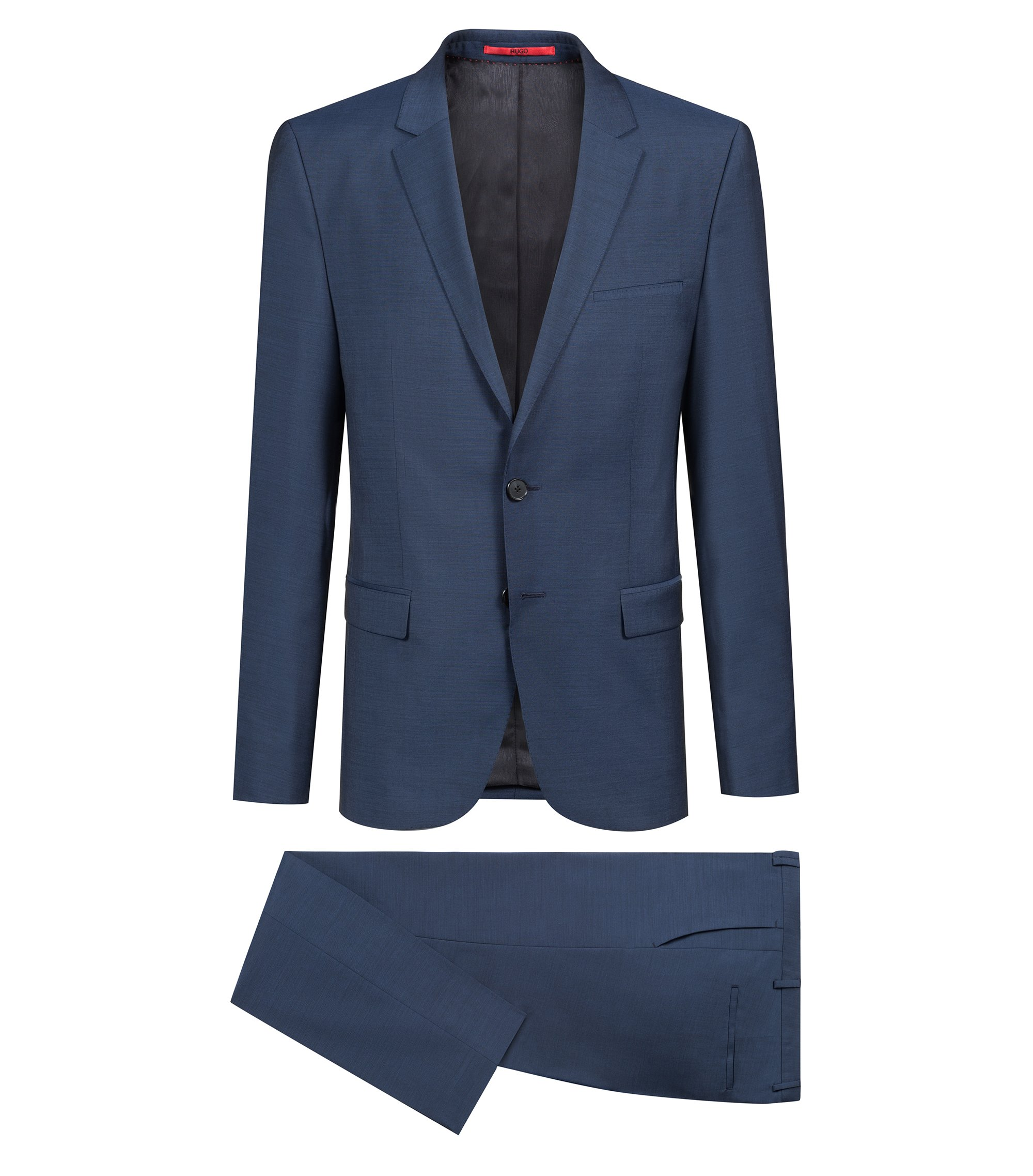 Extra-slim-fit suit in mohair-look virgin wool, Blue