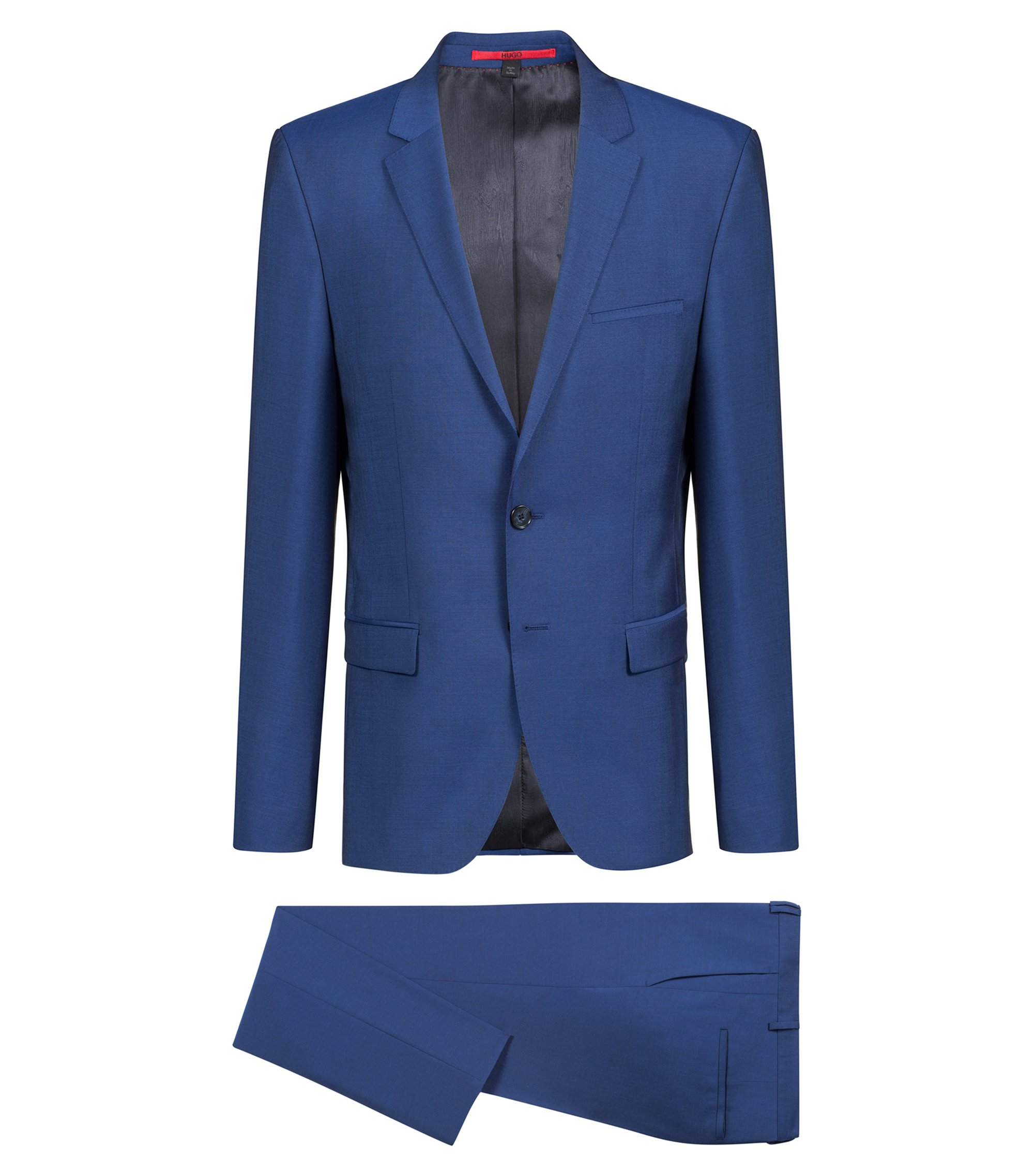 Extra-slim-fit suit in mohair-look virgin wool, Open Blue