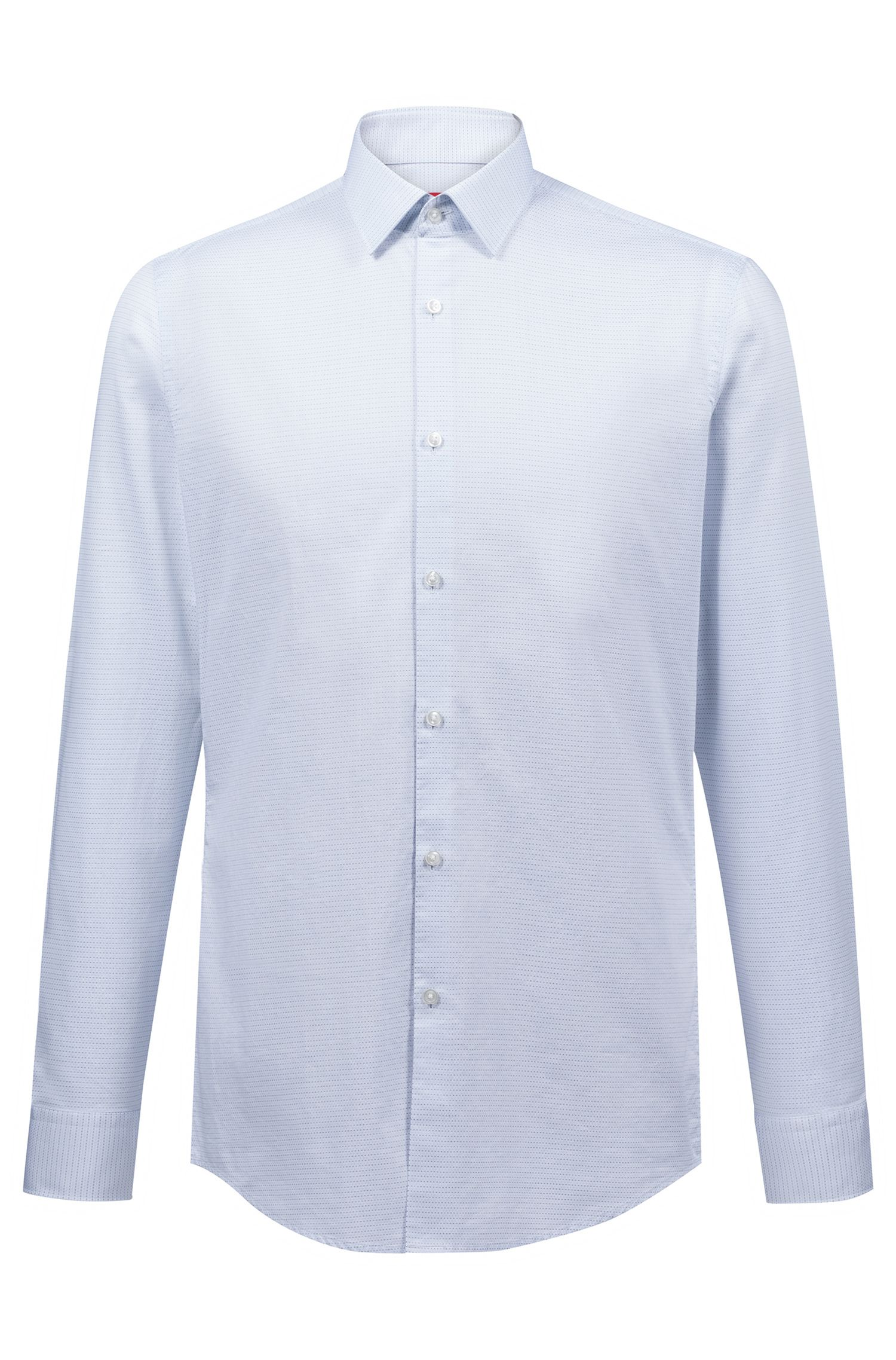 Slim-fit shirt in dot-pattern cotton, Light Blue