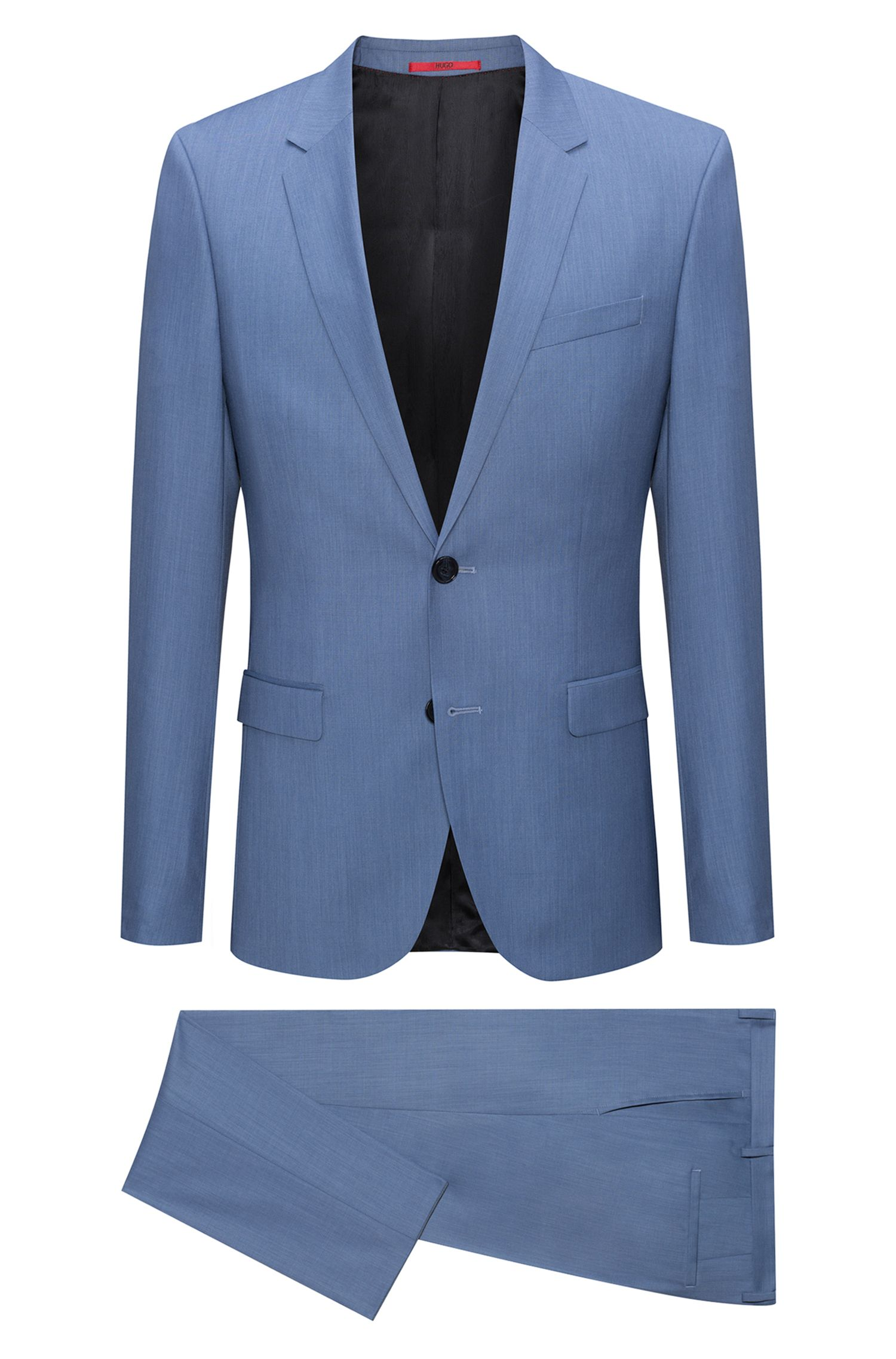 Extra-slim-fit melange virgin wool suit