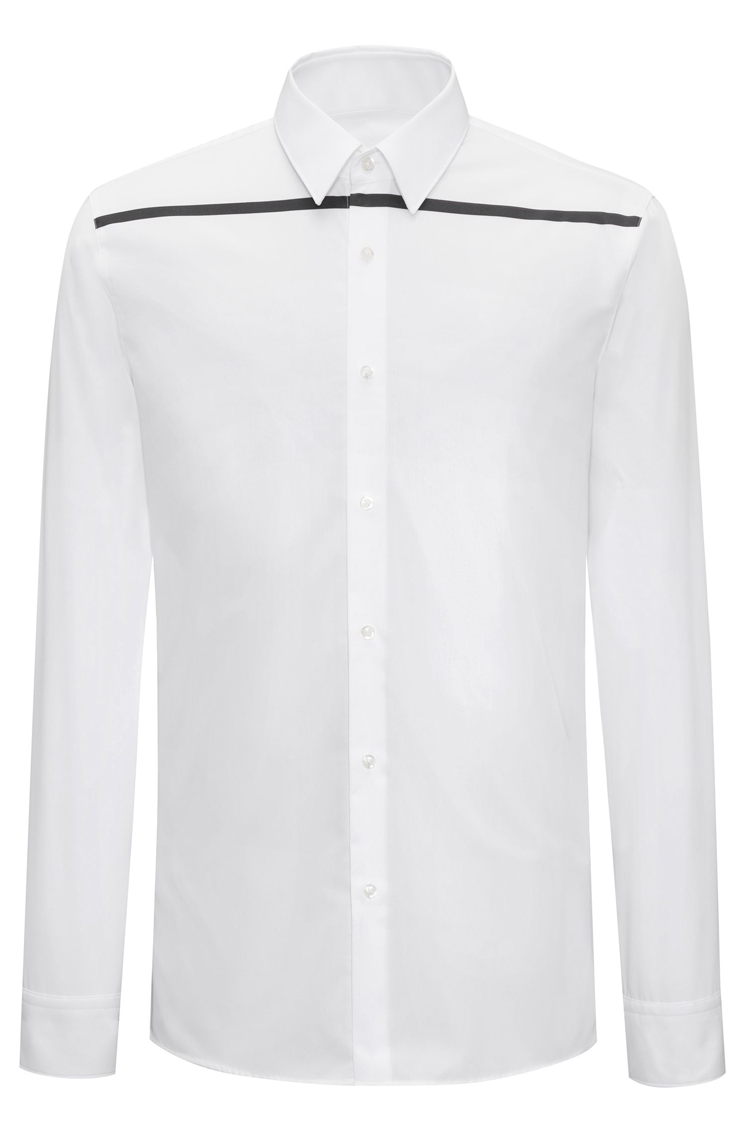 Extra-slim-fit cotton shirt with contrast stripe, Open White