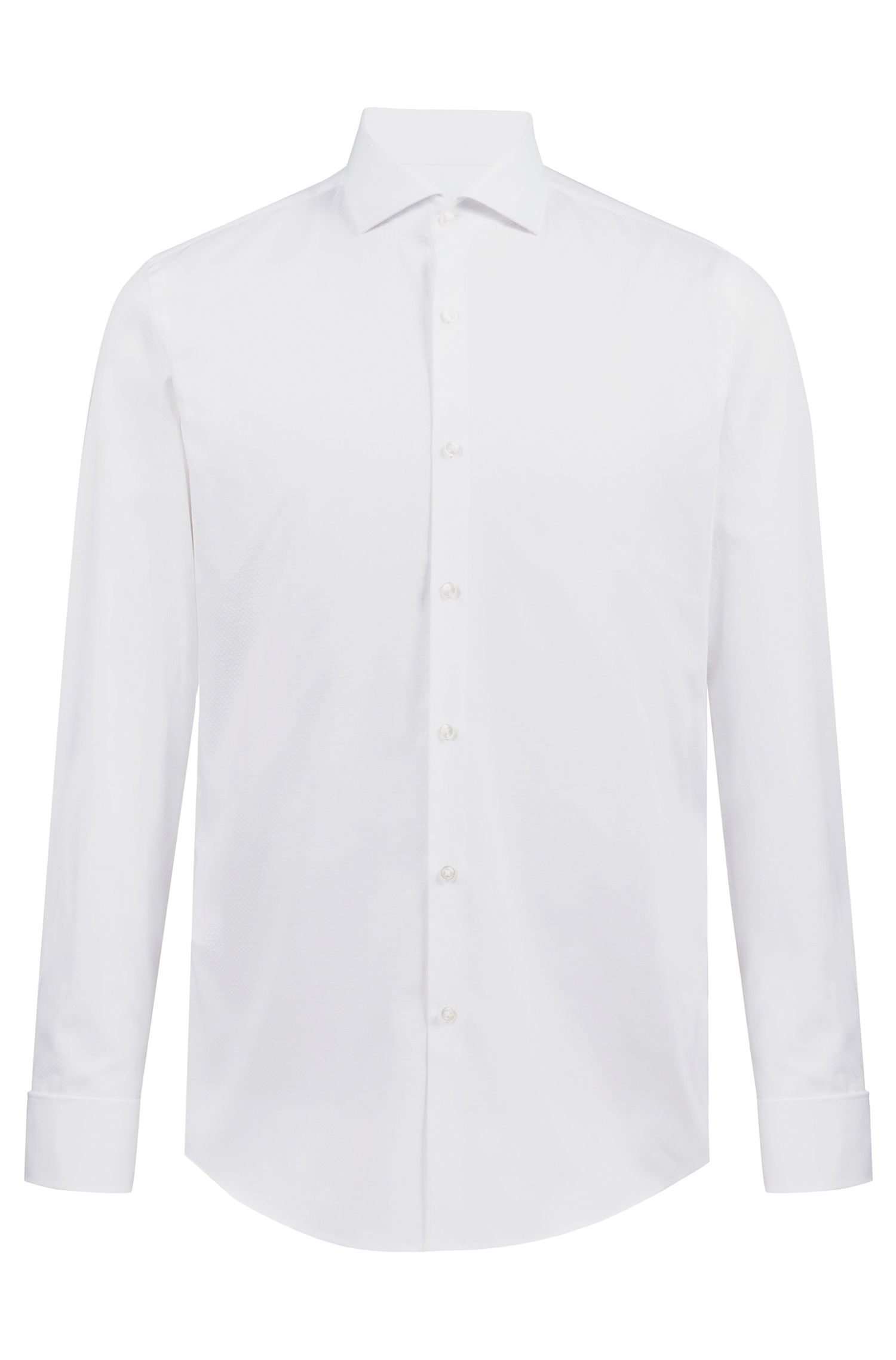 Slim-fit dobby-cotton shirt with double cuffs, Open White
