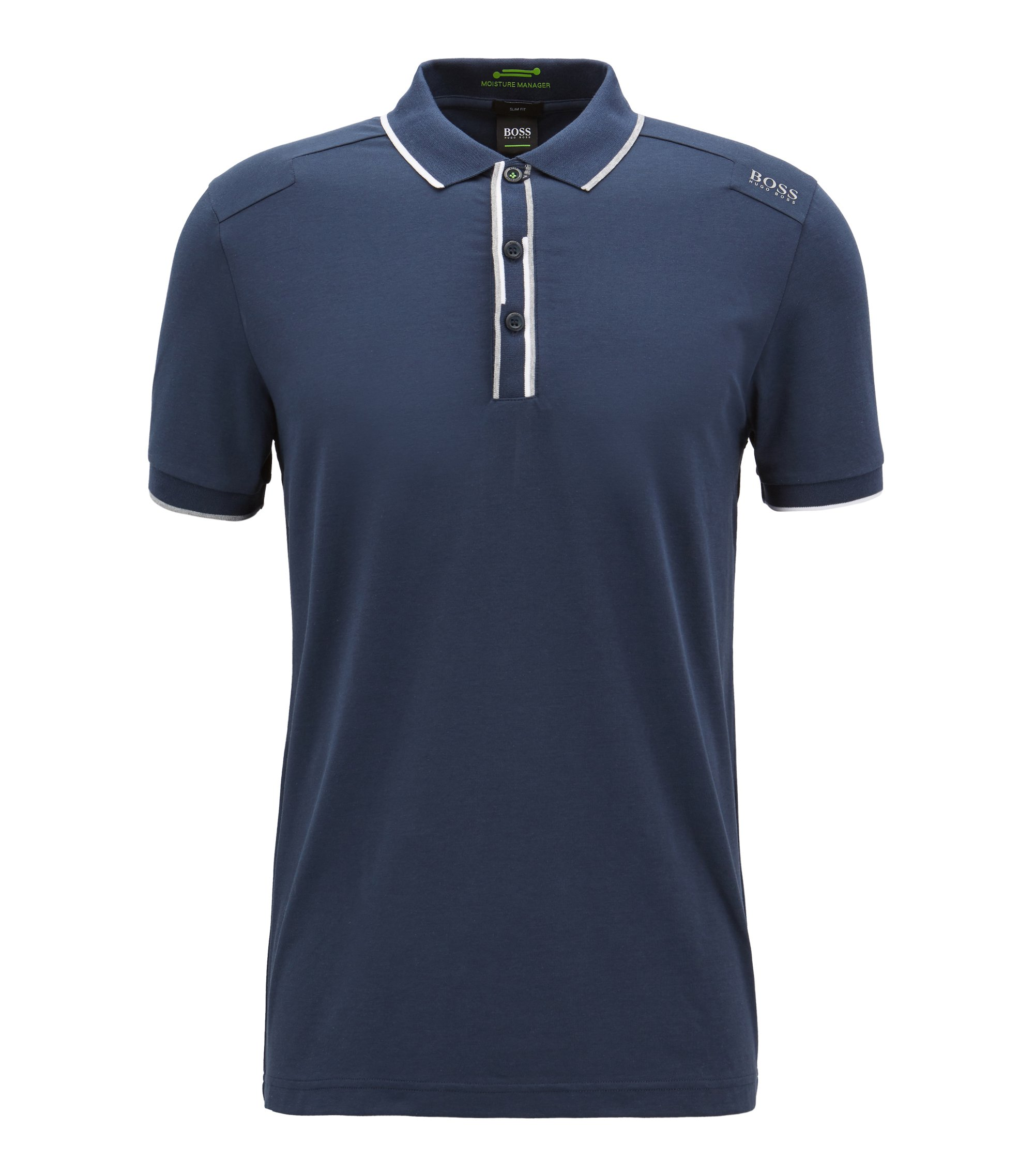 Slim-fit polo shirt with shifted stripes, Dark Blue