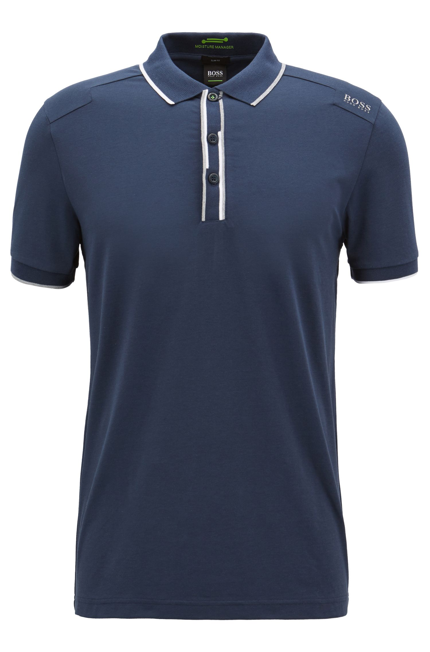 Slim-fit polo shirt with shifted stripes