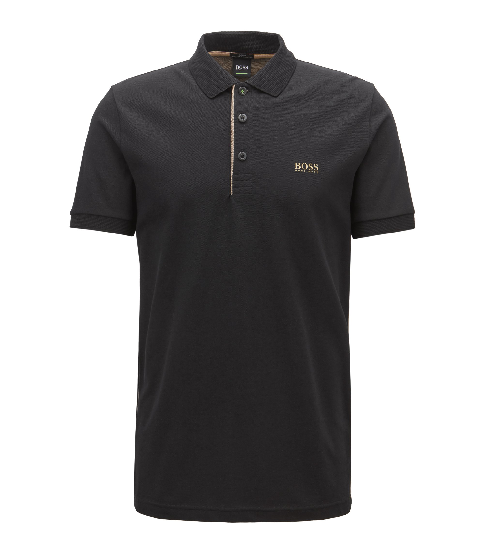 Slim-fit polo shirt with S.Café® and side-seam branding, Black