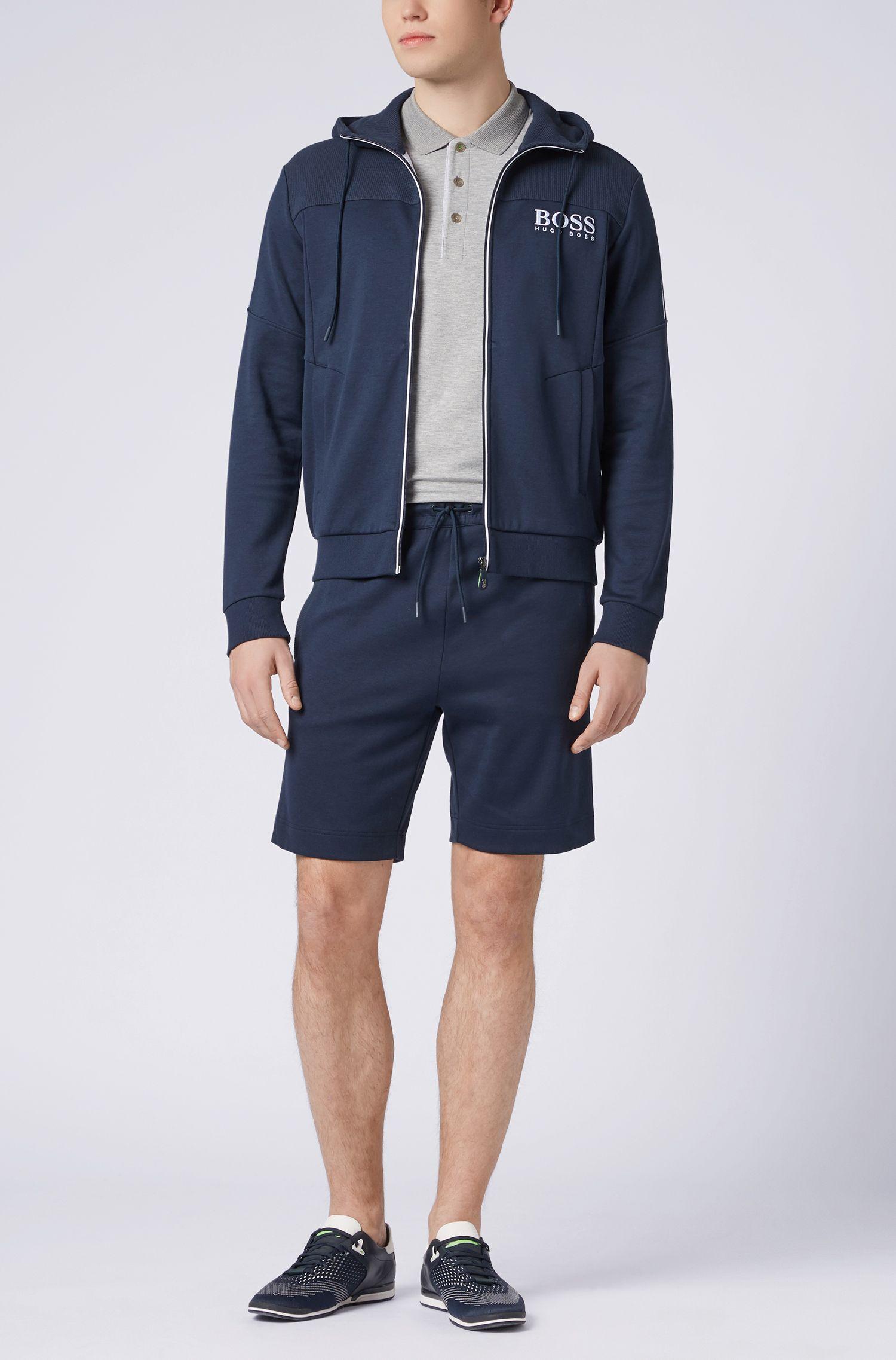 Slim-fit polo shirt with S.Café® and side-seam branding, Light Grey