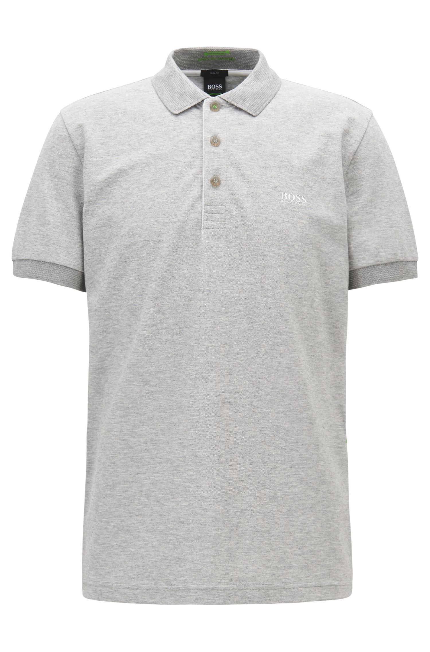 Slim-fit polo shirt with S.Café® and side-seam branding, Light Grey