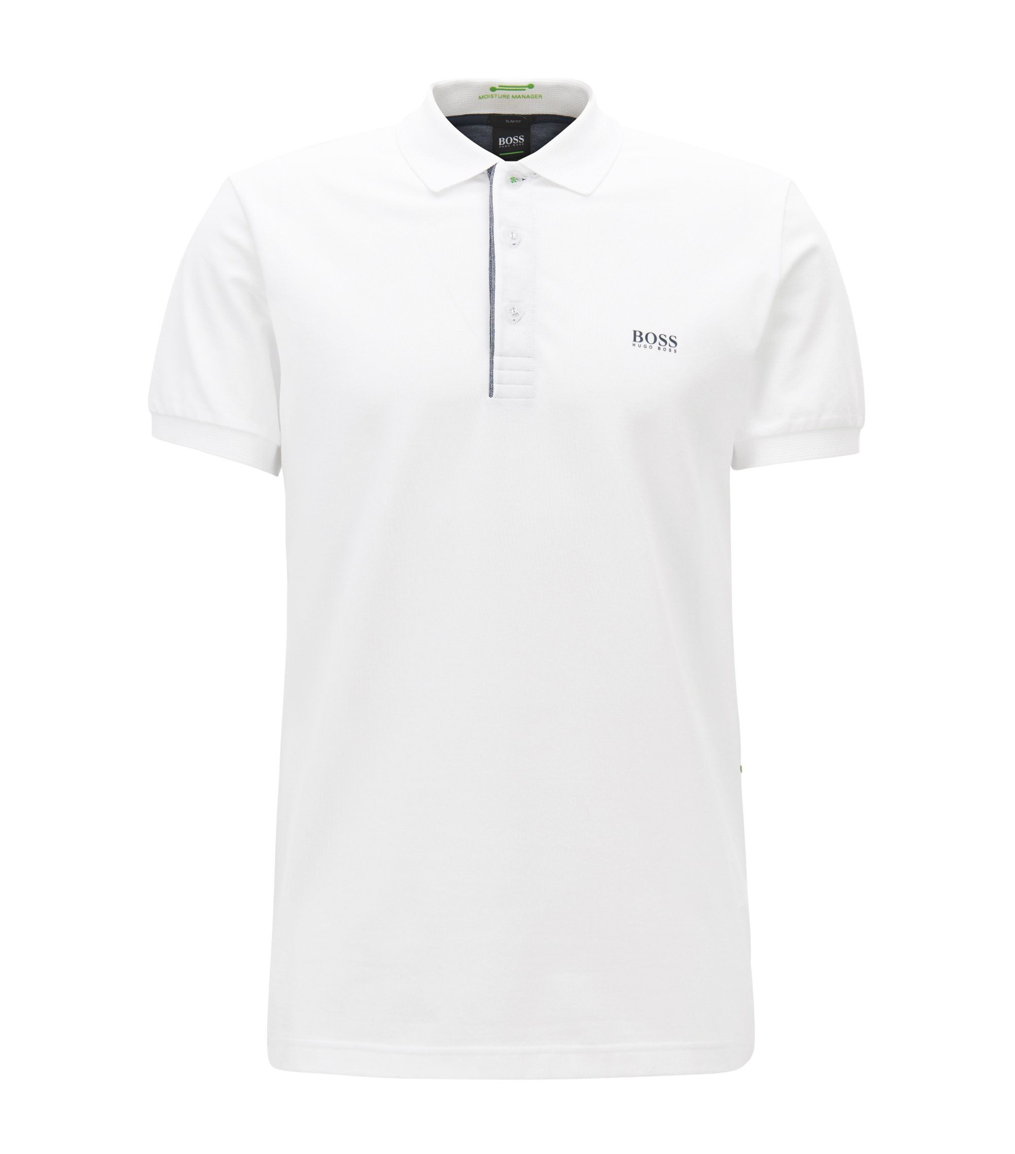 Slim-fit polo shirt with S.Café® and side-seam branding, White