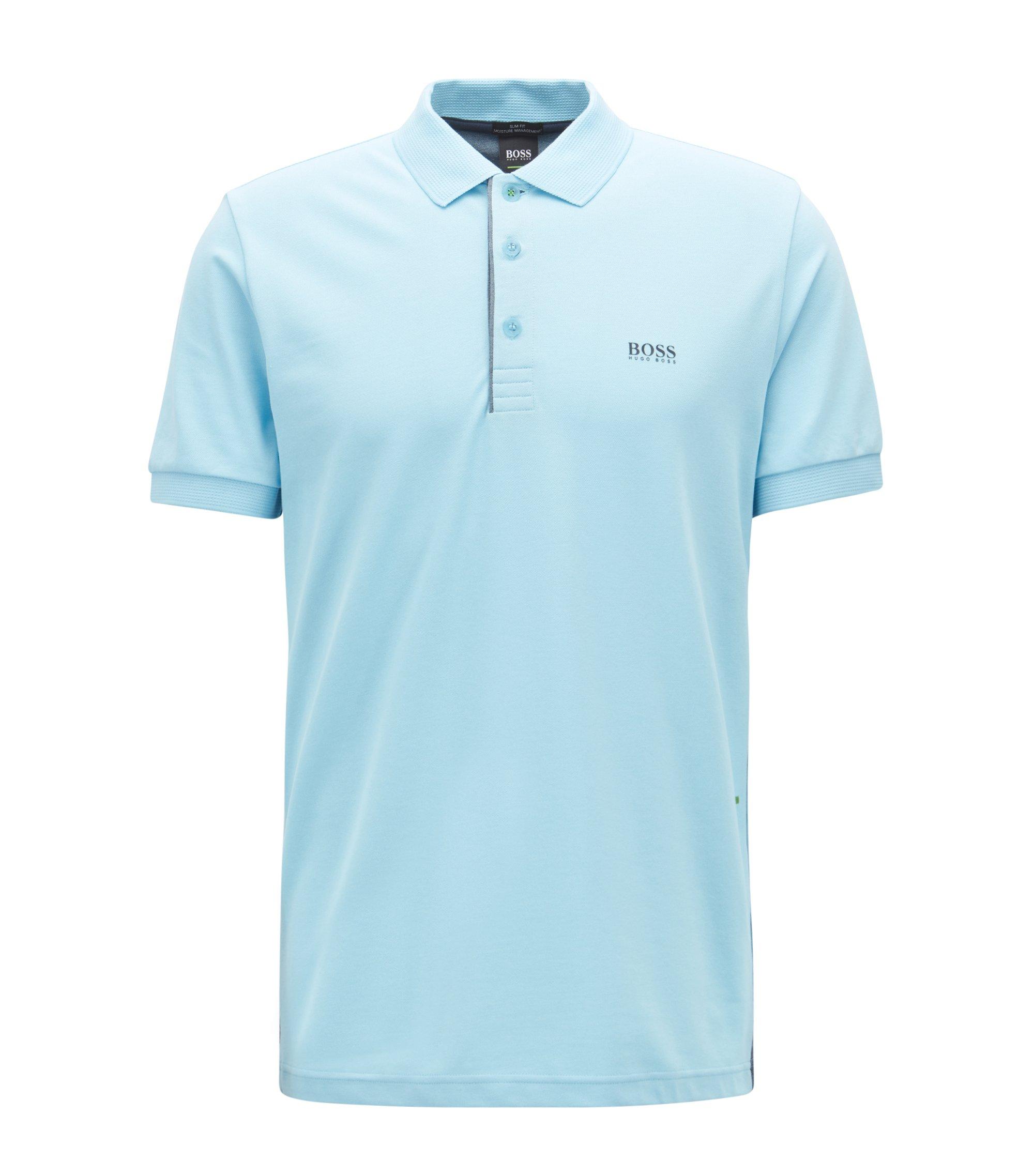 Slim-fit polo shirt with S.Café® and side-seam branding, Dark Blue