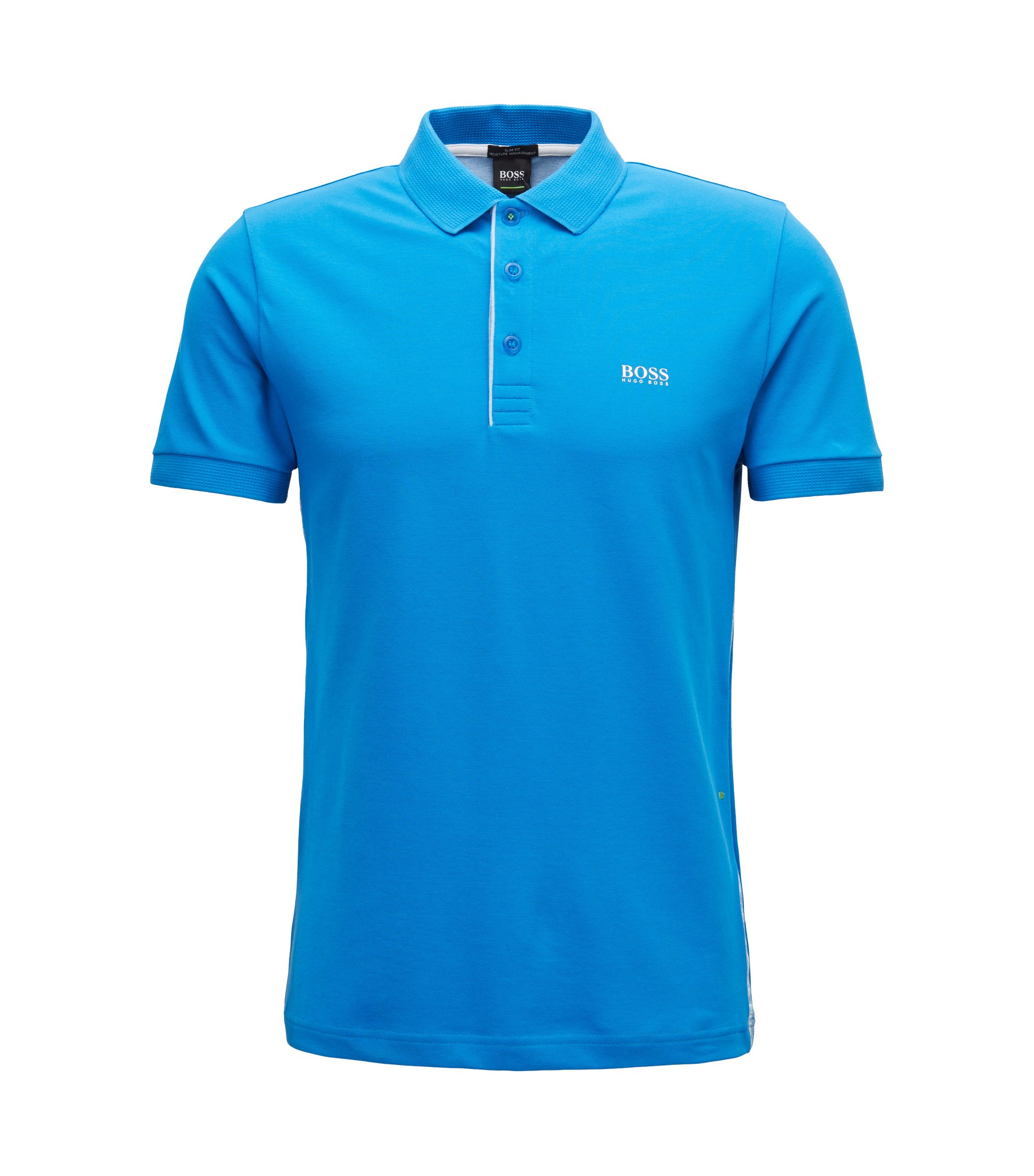 Slim-fit polo shirt with S.Café® and side-seam branding, Blue