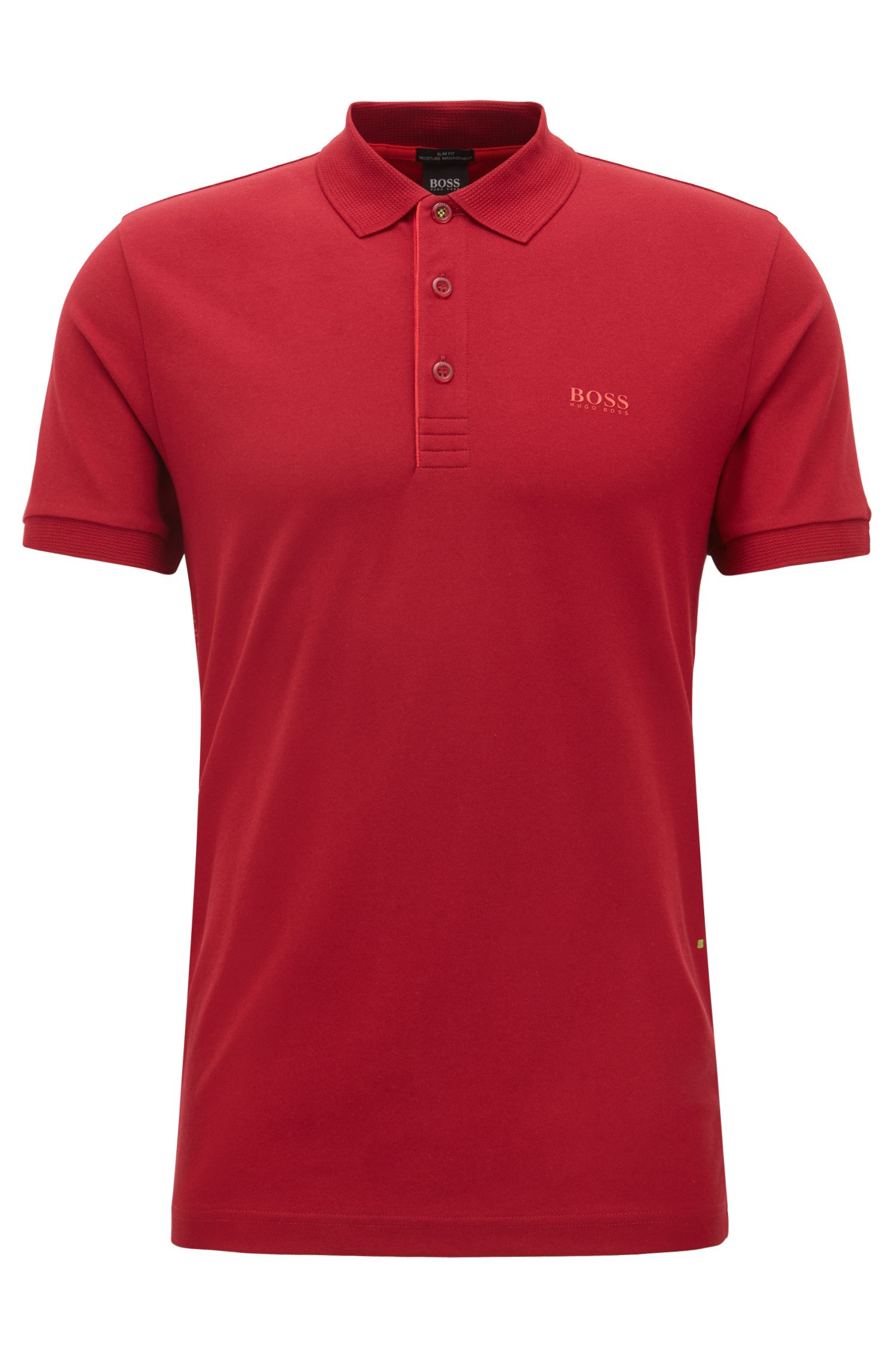 Slim-fit polo shirt with S.Café® and side-seam branding, Dark Red