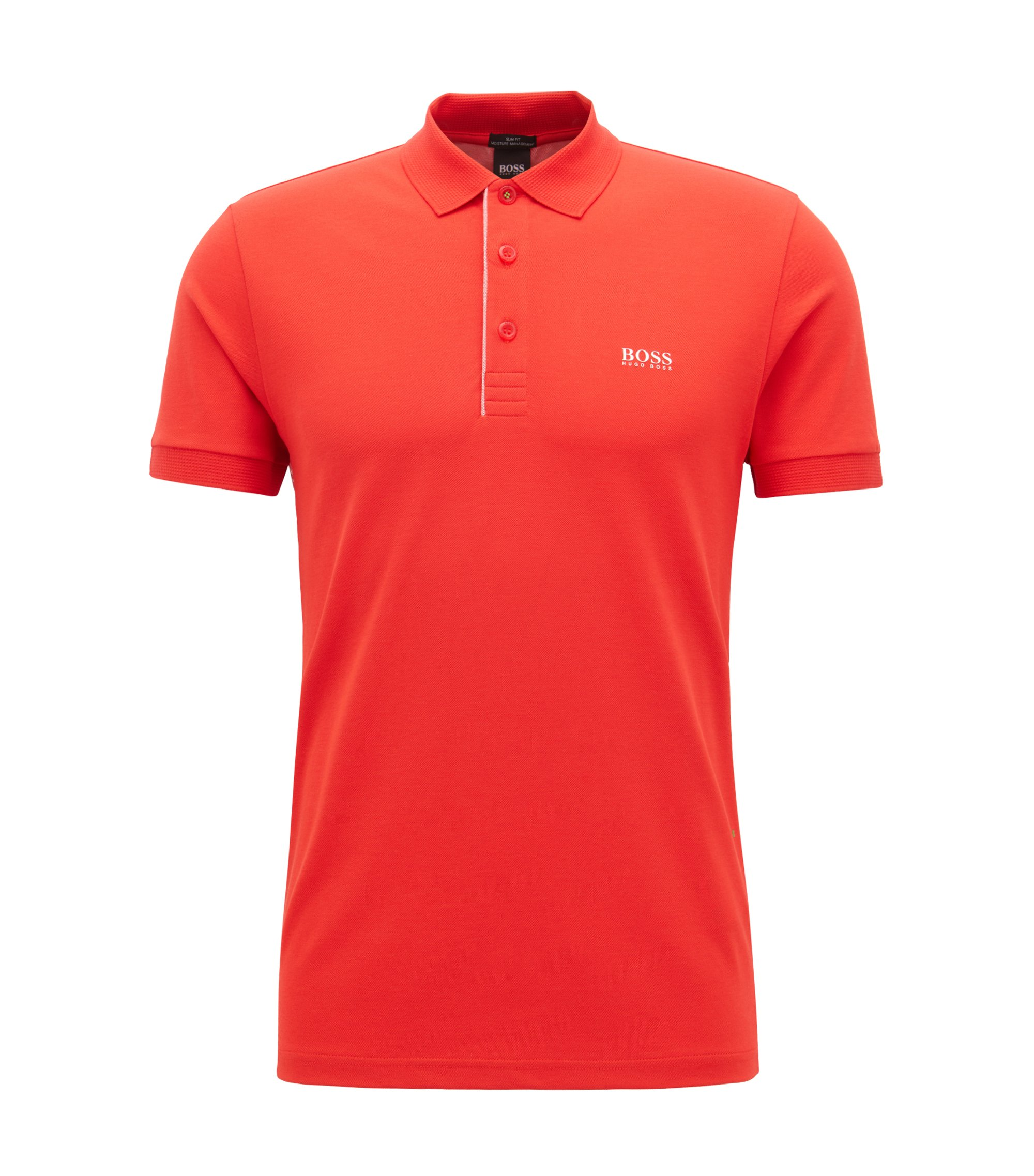 Slim-fit polo shirt with S.Café® and side-seam branding, Open Red