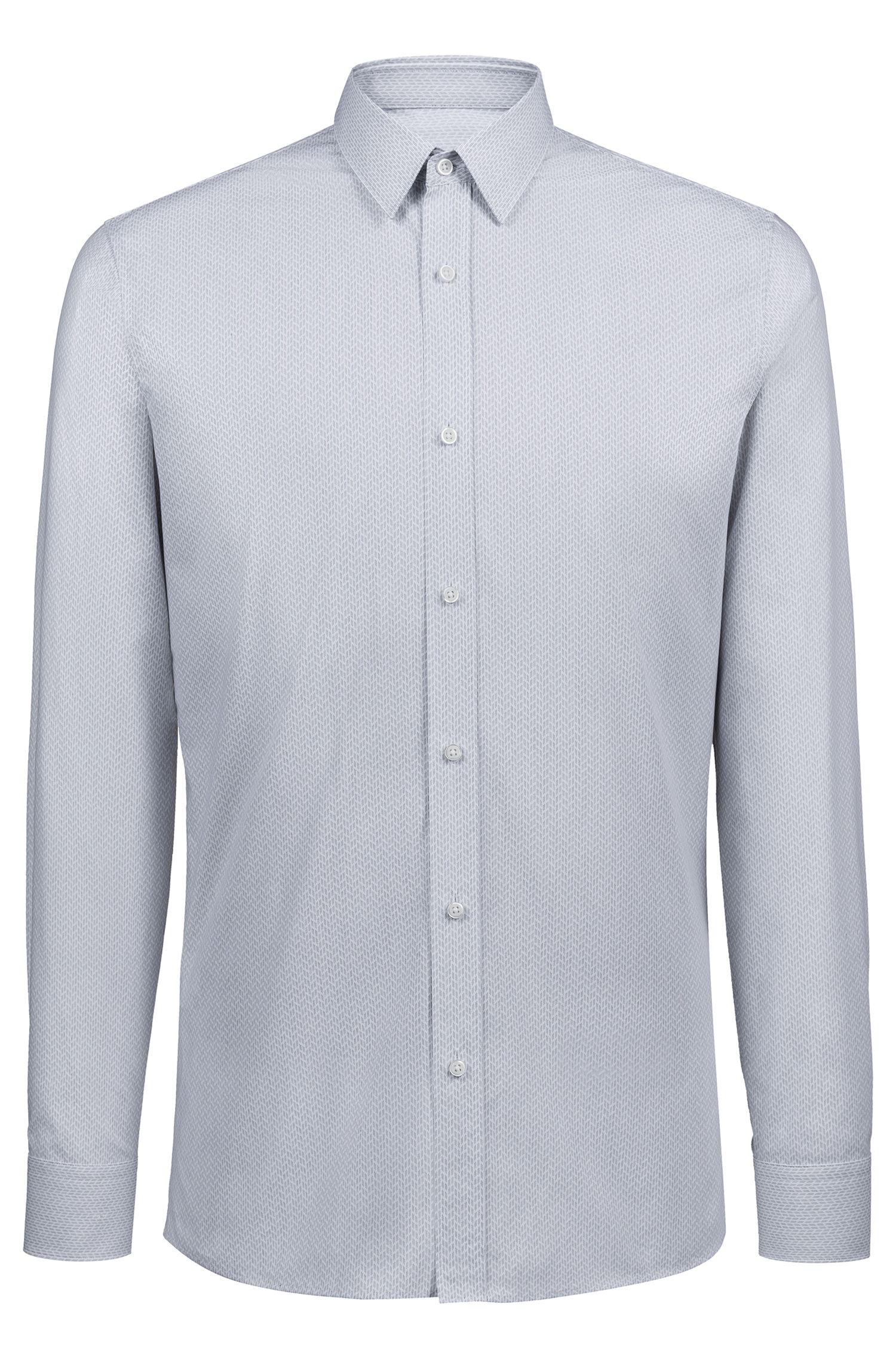 Extra-slim-fit cotton shirt with structured pattern