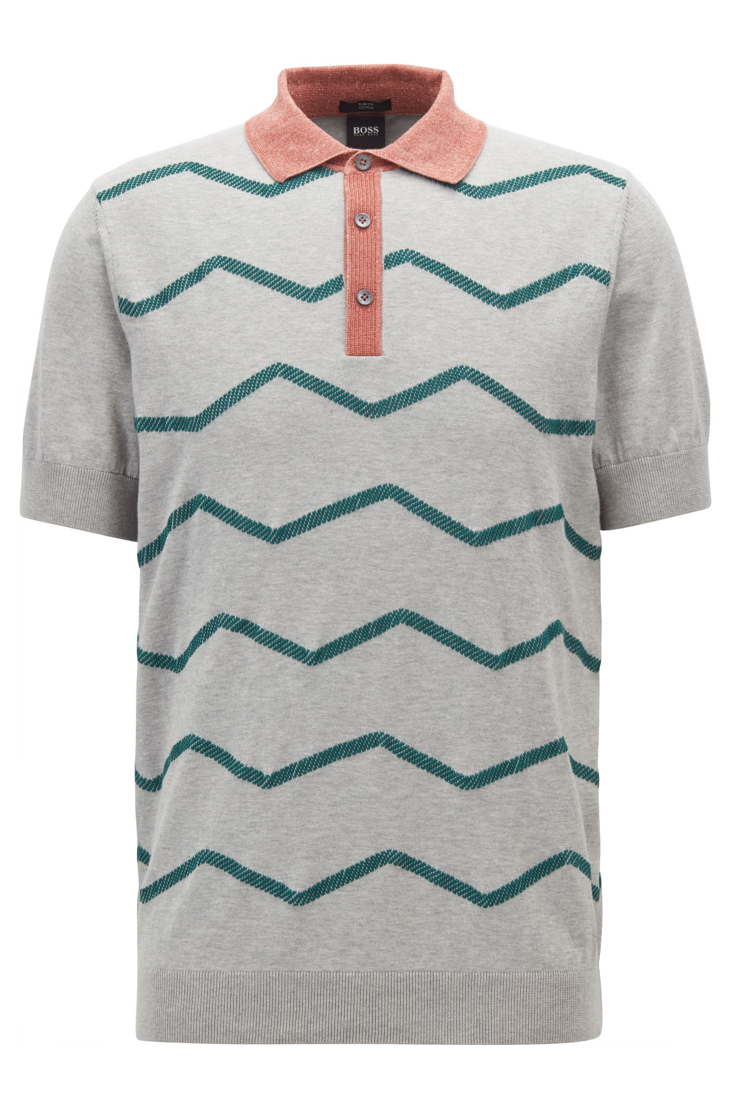 Slim-fit polo-style sweater with zigzag embroidery, Open Grey