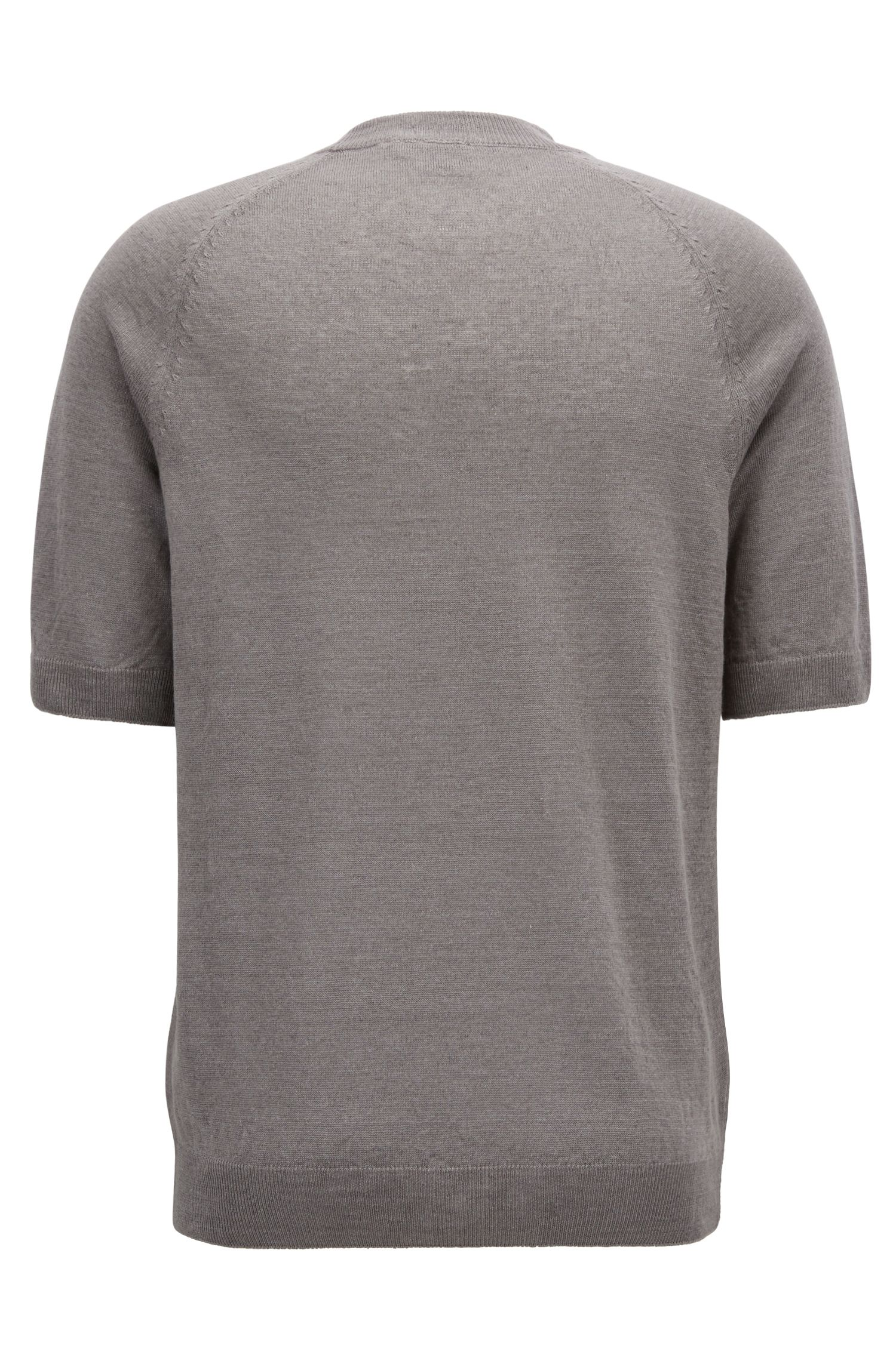 T-shirt-style sweater in linen jersey, Grey