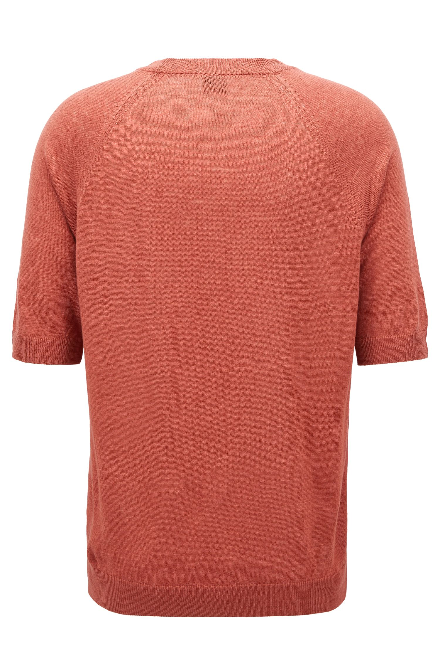 T-shirt-style sweater in linen jersey, Open Red
