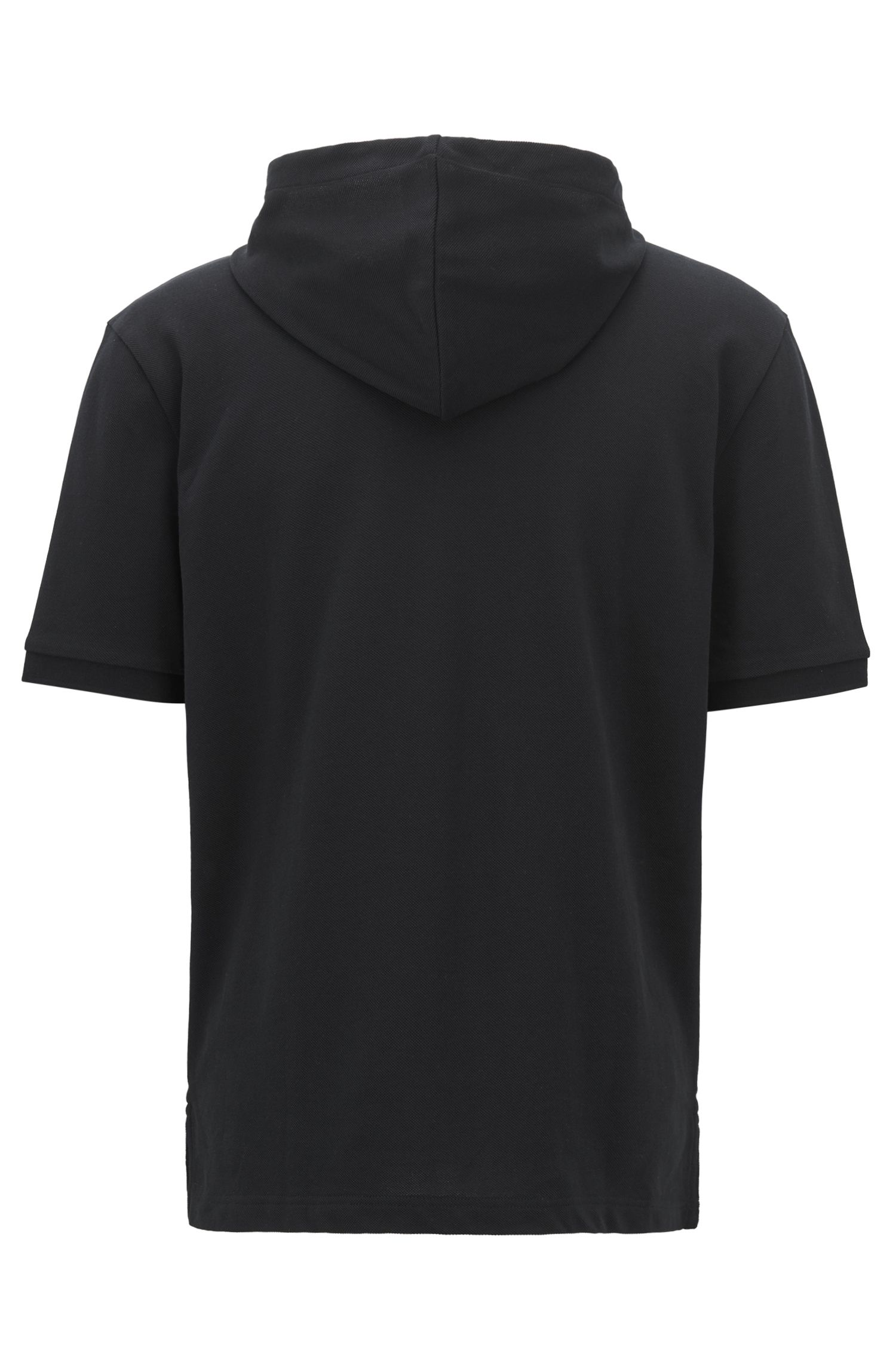 Relaxed-fit polo shirt in cotton piqué with hood