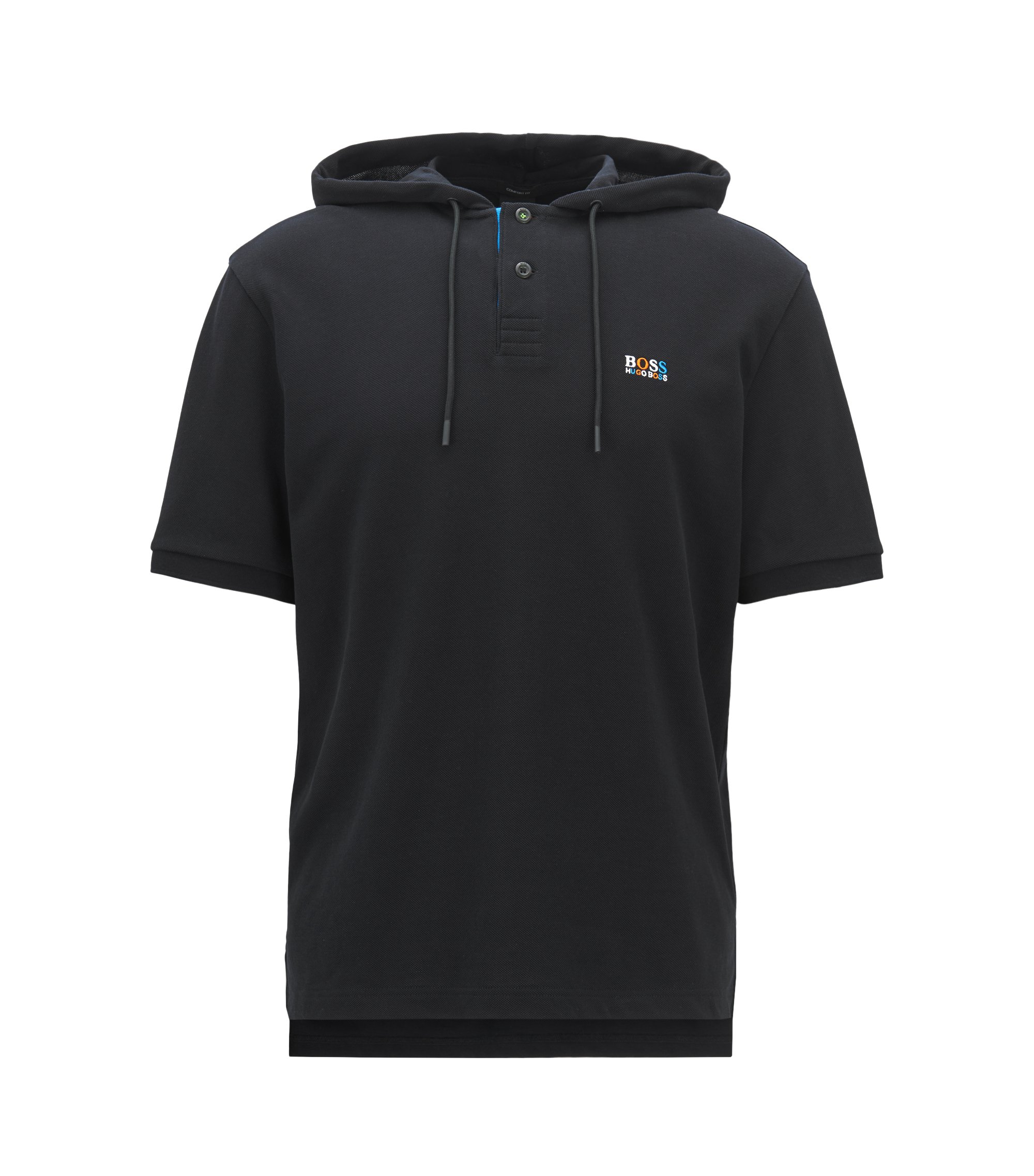 Relaxed-fit polo shirt in cotton piqué with hood, Black