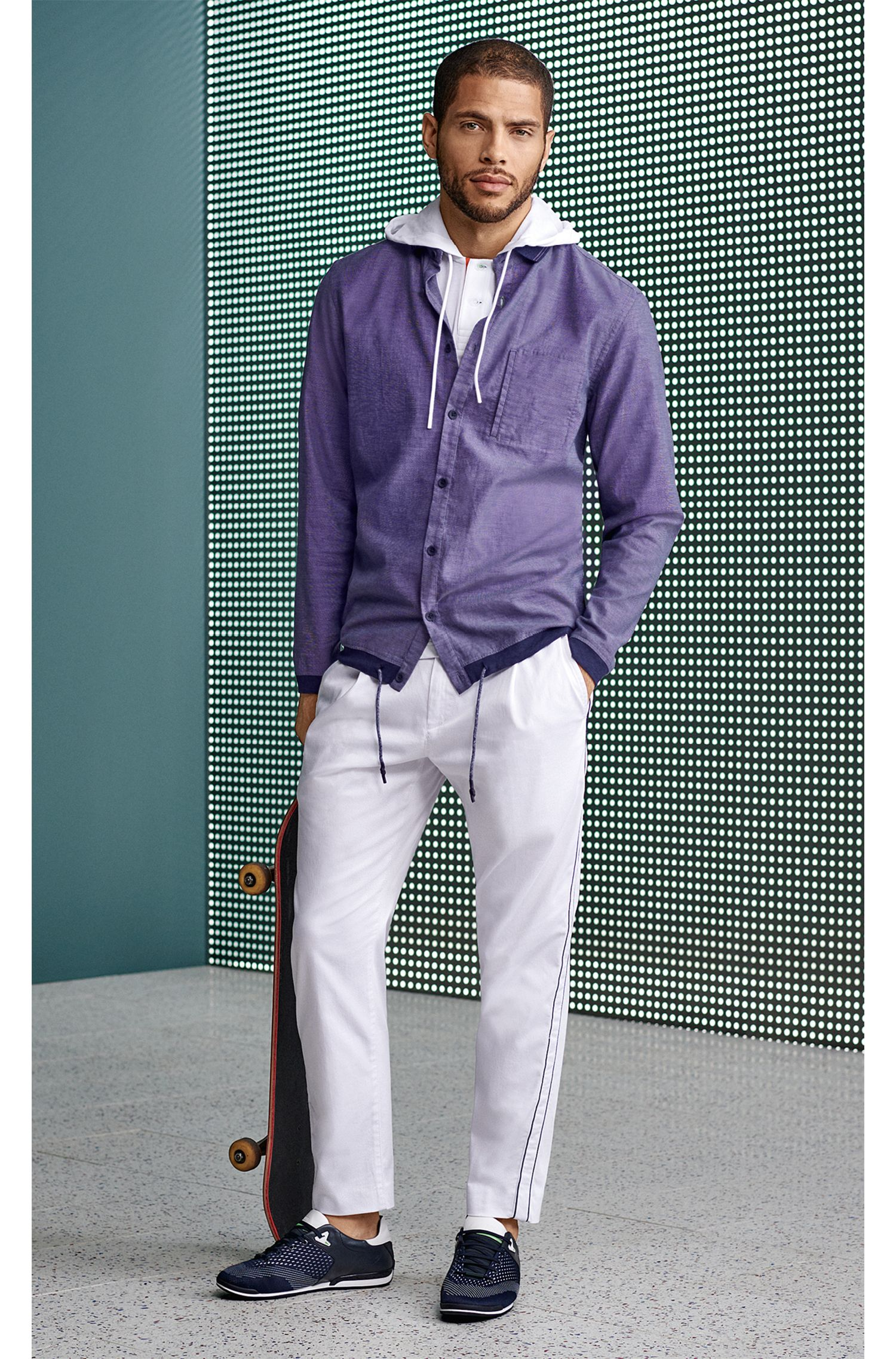 Relaxed-fit polo shirt in cotton piqué with hood, White