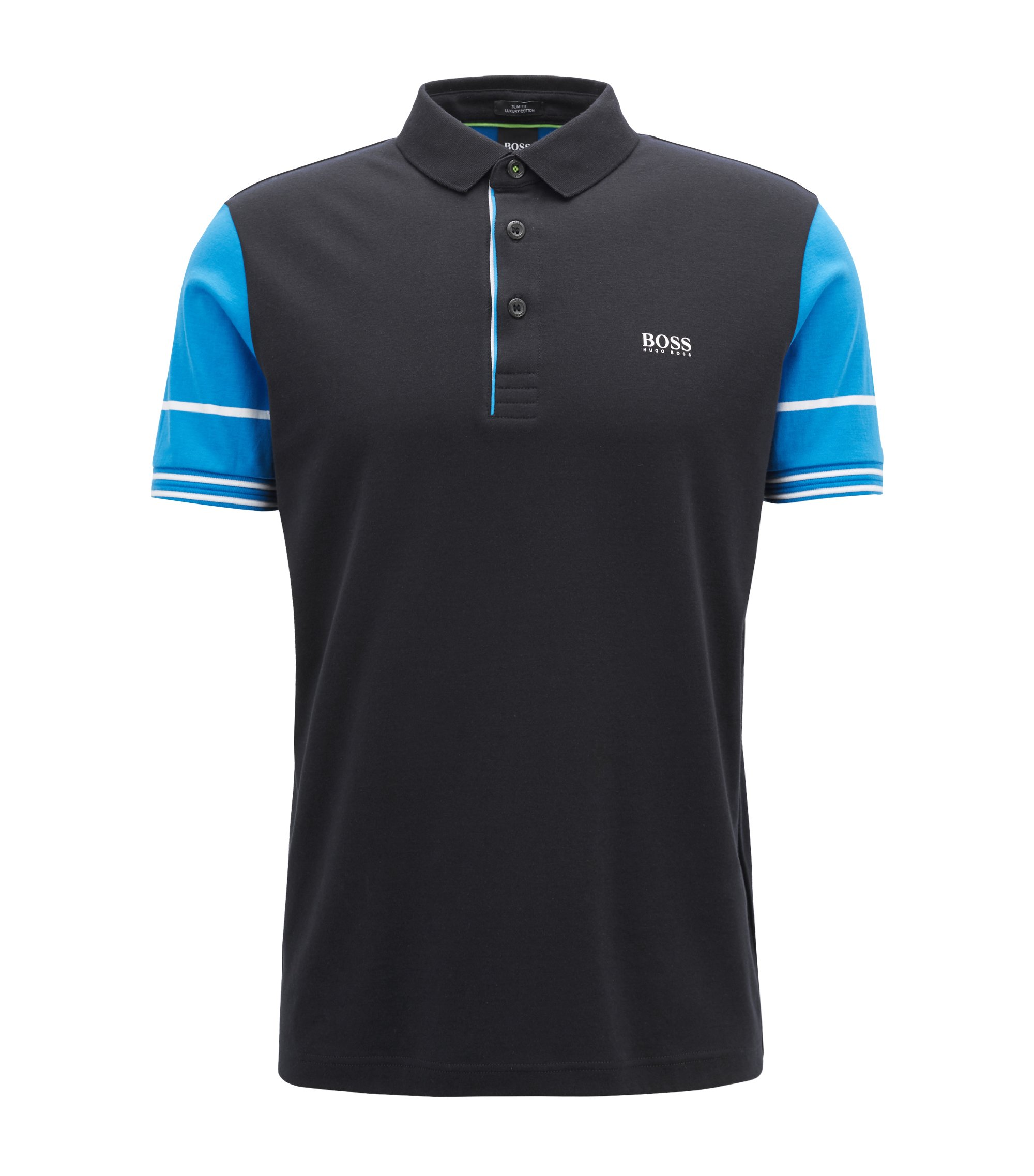 Slim-fit polo shirt with color-block sleeves, Black