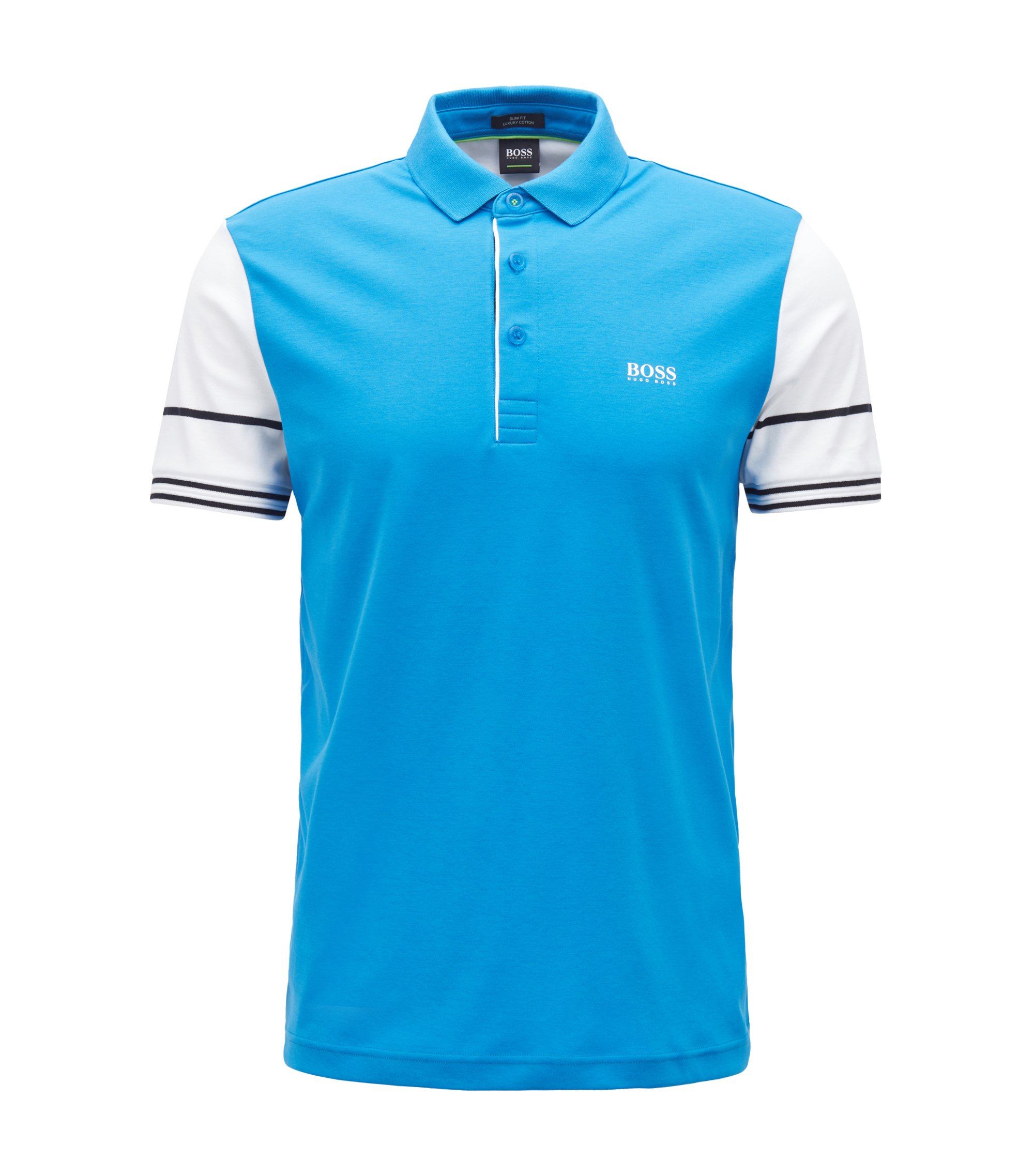 Slim-fit polo shirt with color-block sleeves, Blue