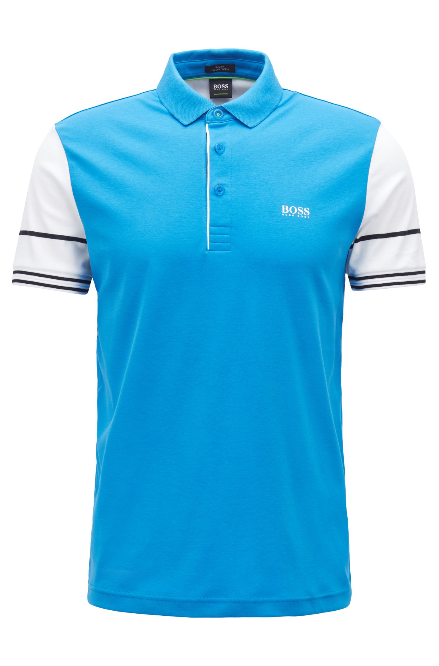 Slim-fit polo shirt with color-block sleeves