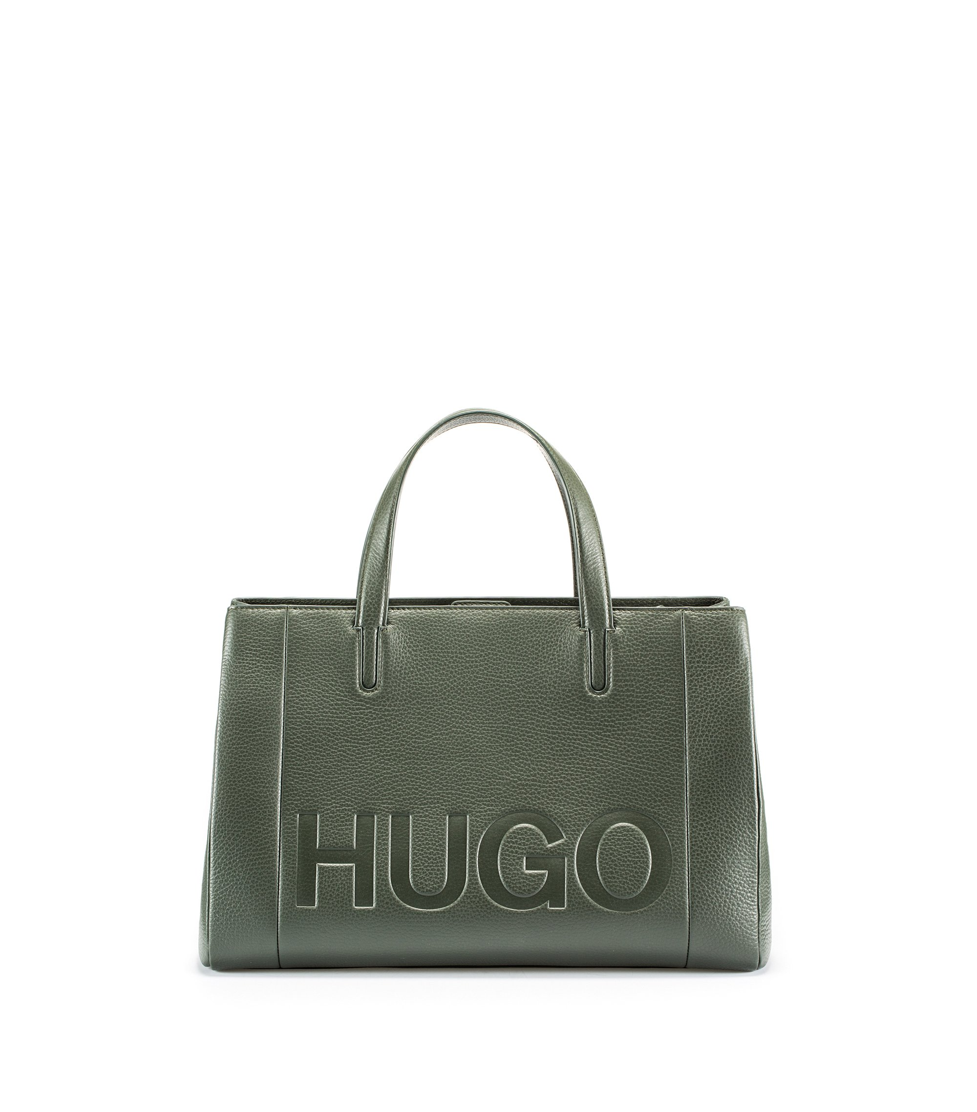 Leather tote bag with embossed logo, Green