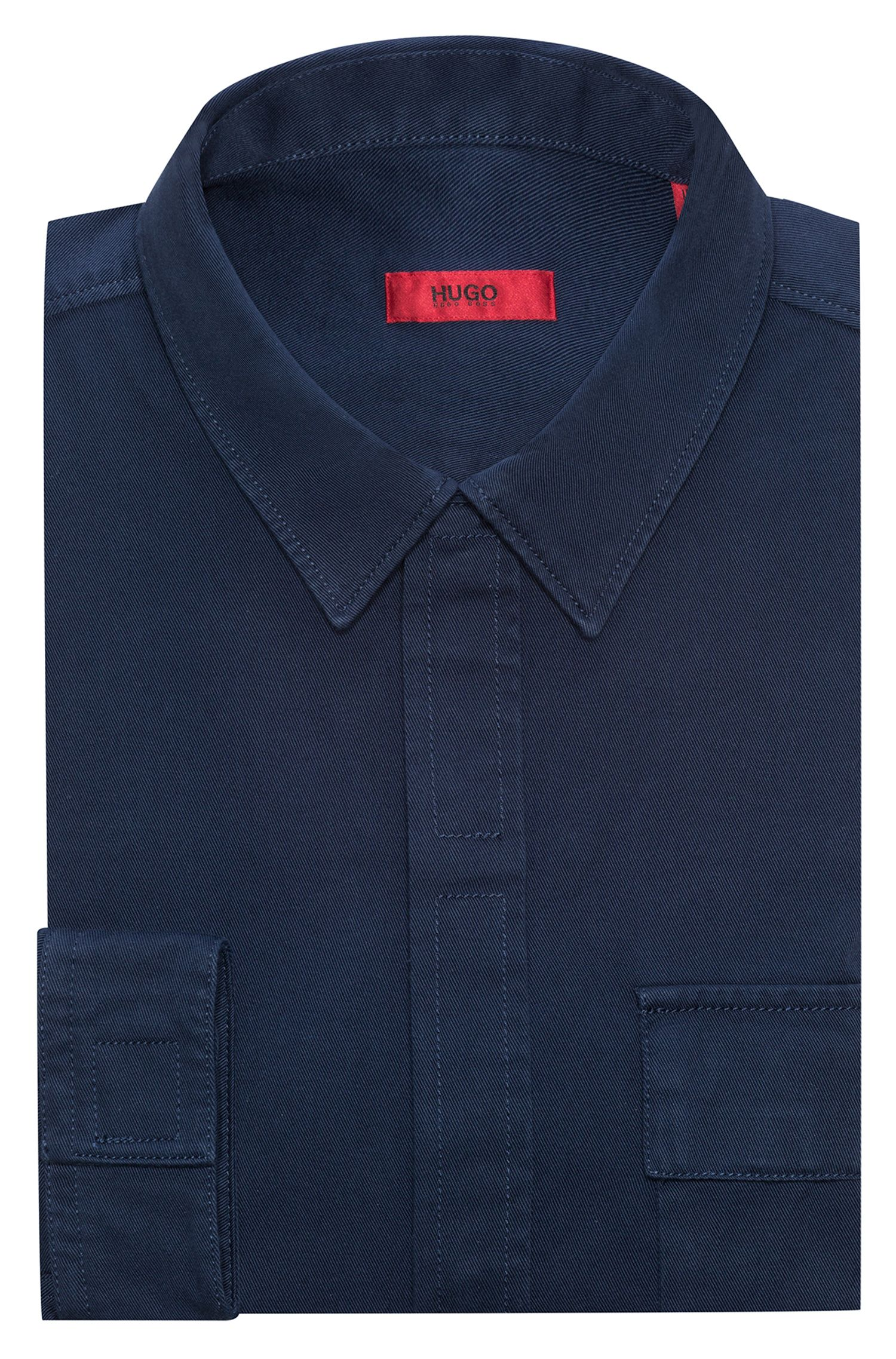 Relaxed-fit cotton shirt with oversized chest pocket, Dark Blue