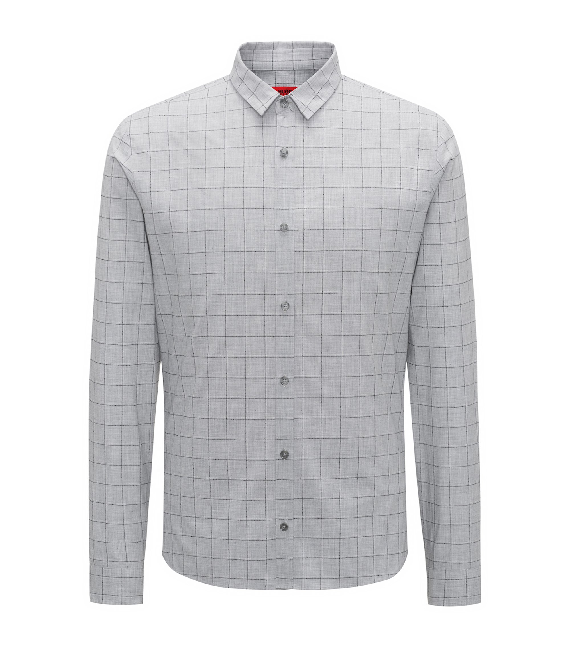 Extra-slim-fit checkered shirt in cotton-blend bouclé, Open Grey