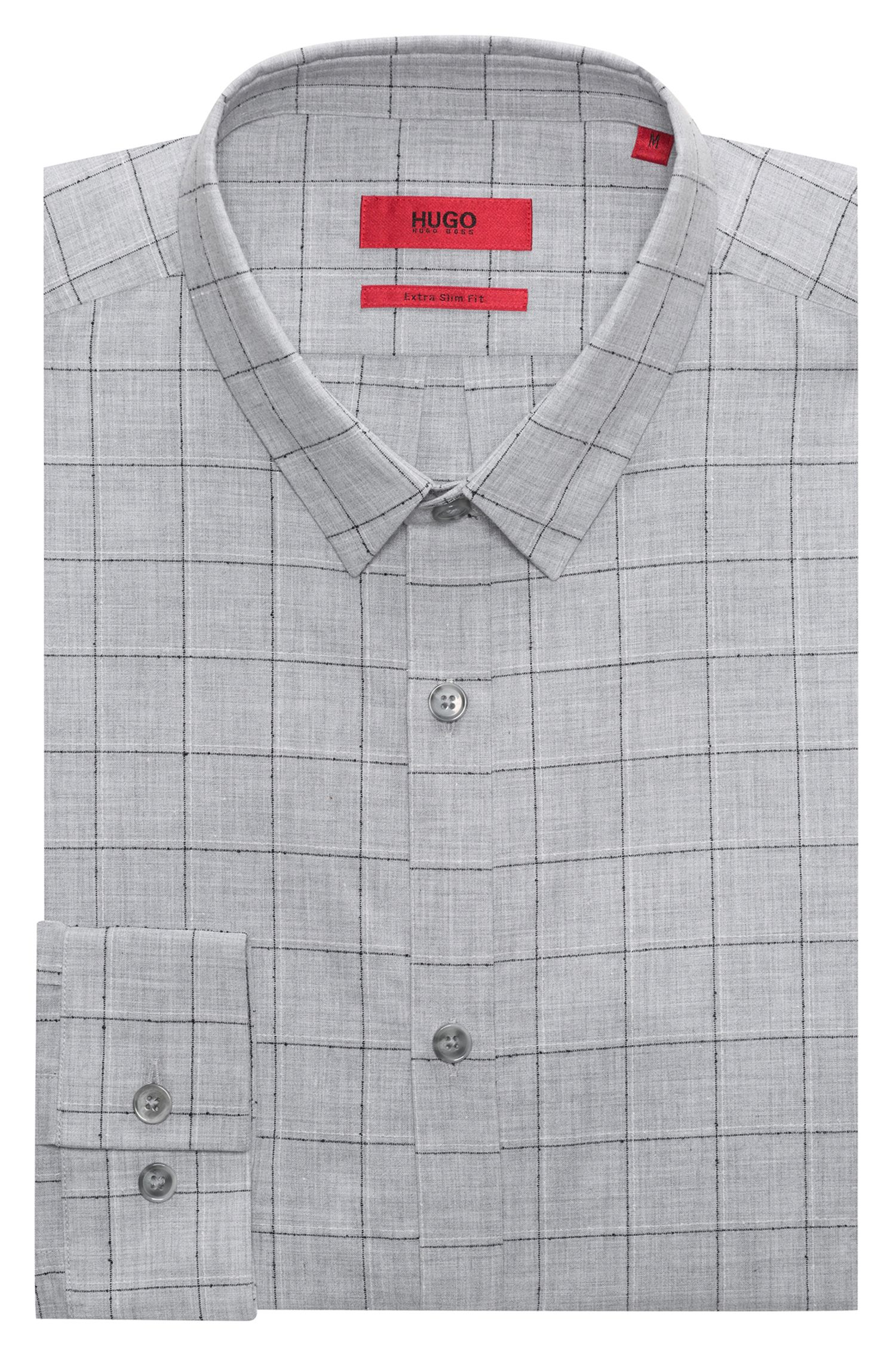 Extra-slim-fit checkered shirt in cotton-blend bouclé