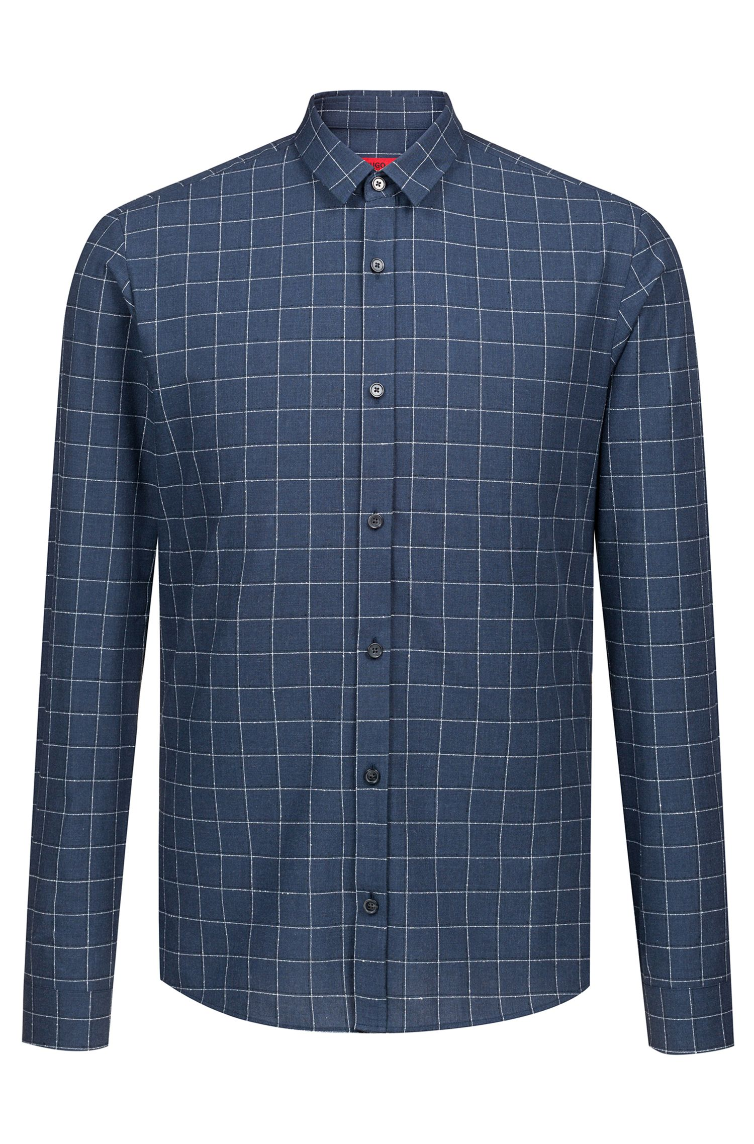 Extra-slim-fit checkered shirt in cotton-blend bouclé, Dark Blue