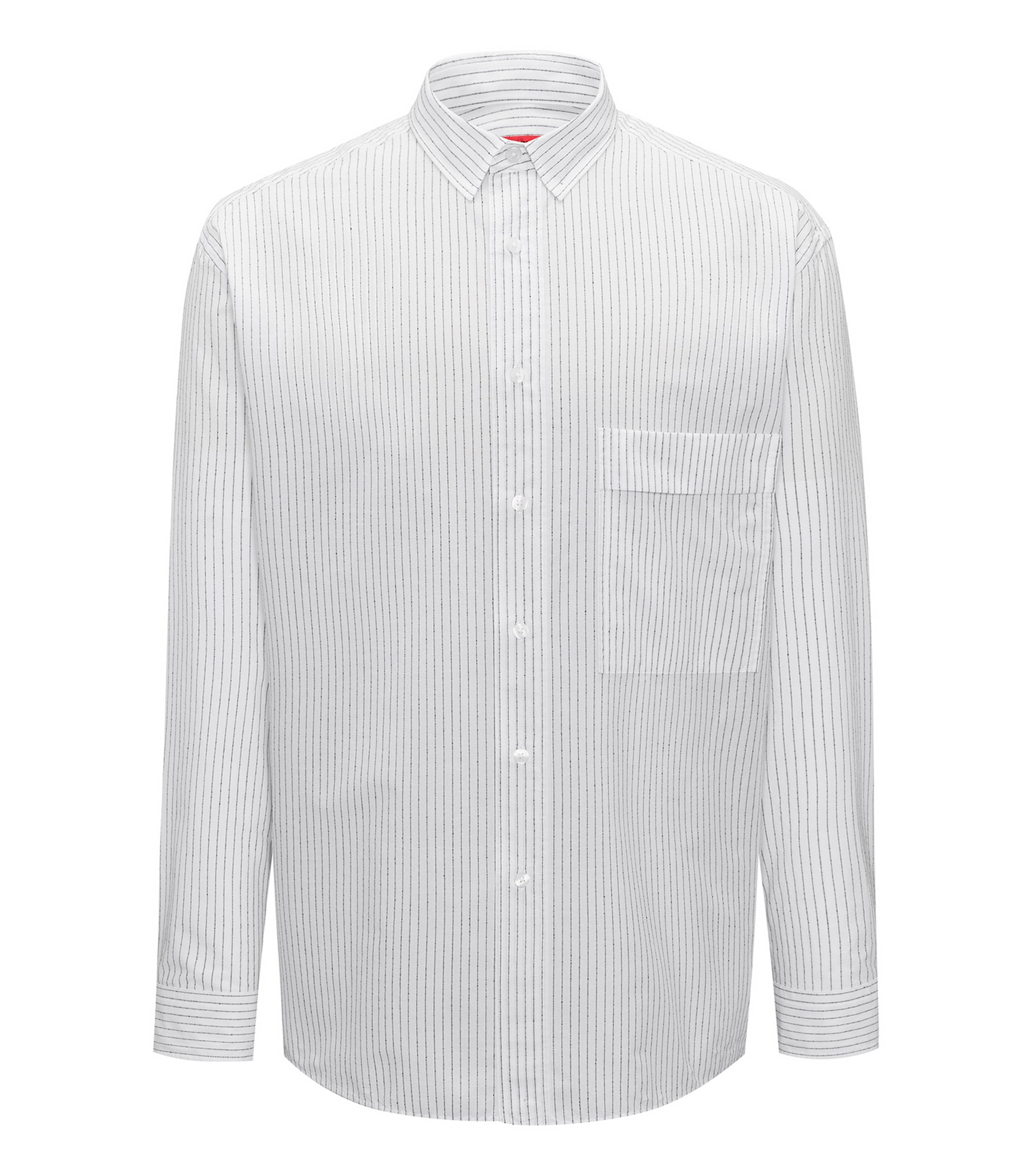 Relaxed-fit striped shirt in cotton-blend bouclé, Open White