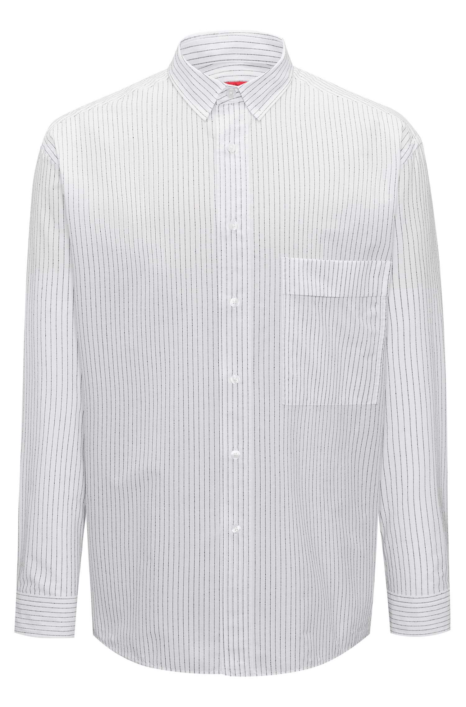 Relaxed-fit striped shirt in cotton-blend bouclé