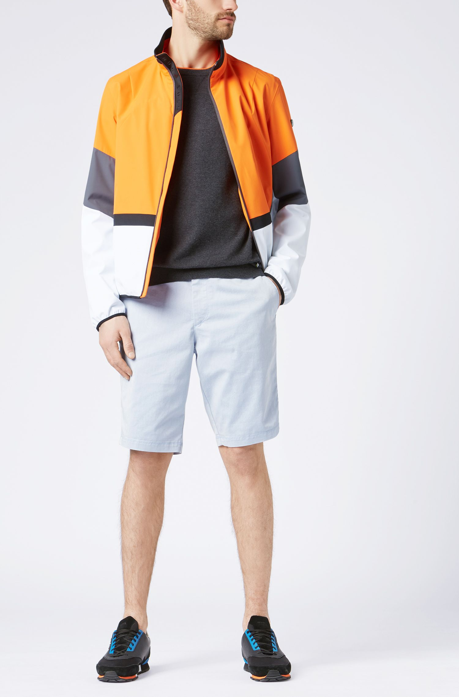 Cotton-blend sweater with color-blocking, Charcoal