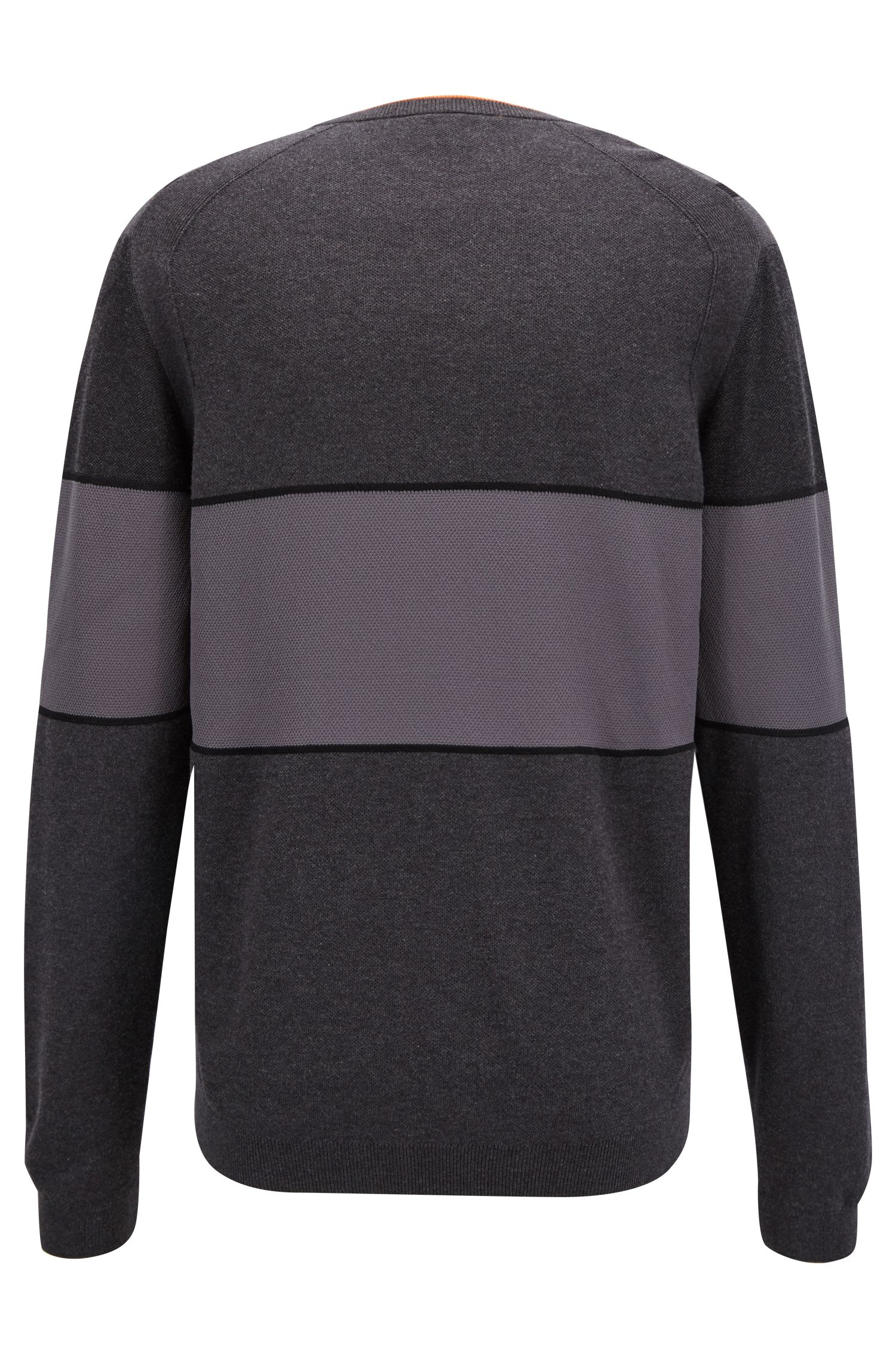 Cotton-blend sweater with color-blocking