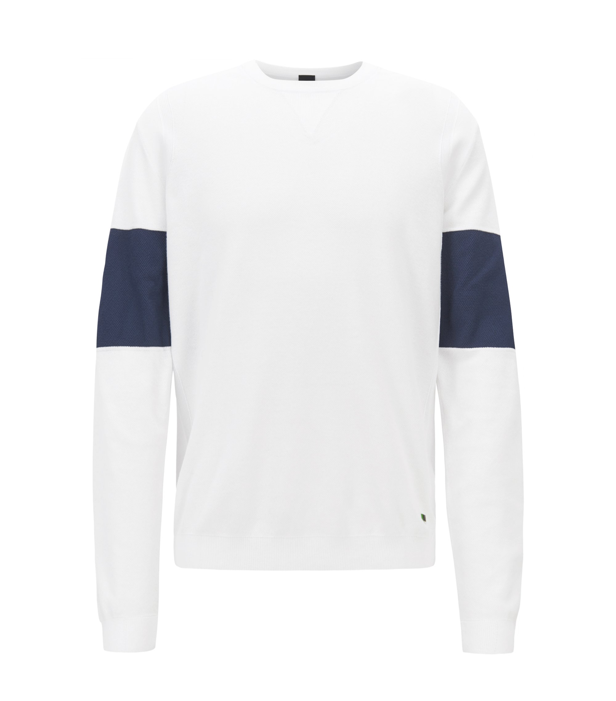 Cotton-blend sweater with color-blocking, White