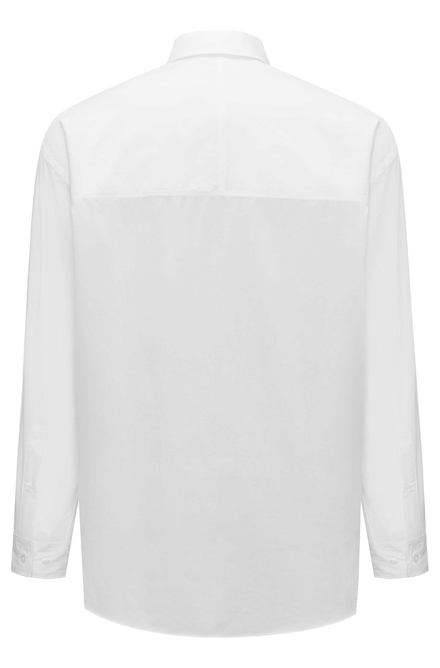 Relaxed-fit shirt in paper-touch cotton canvas, Natural