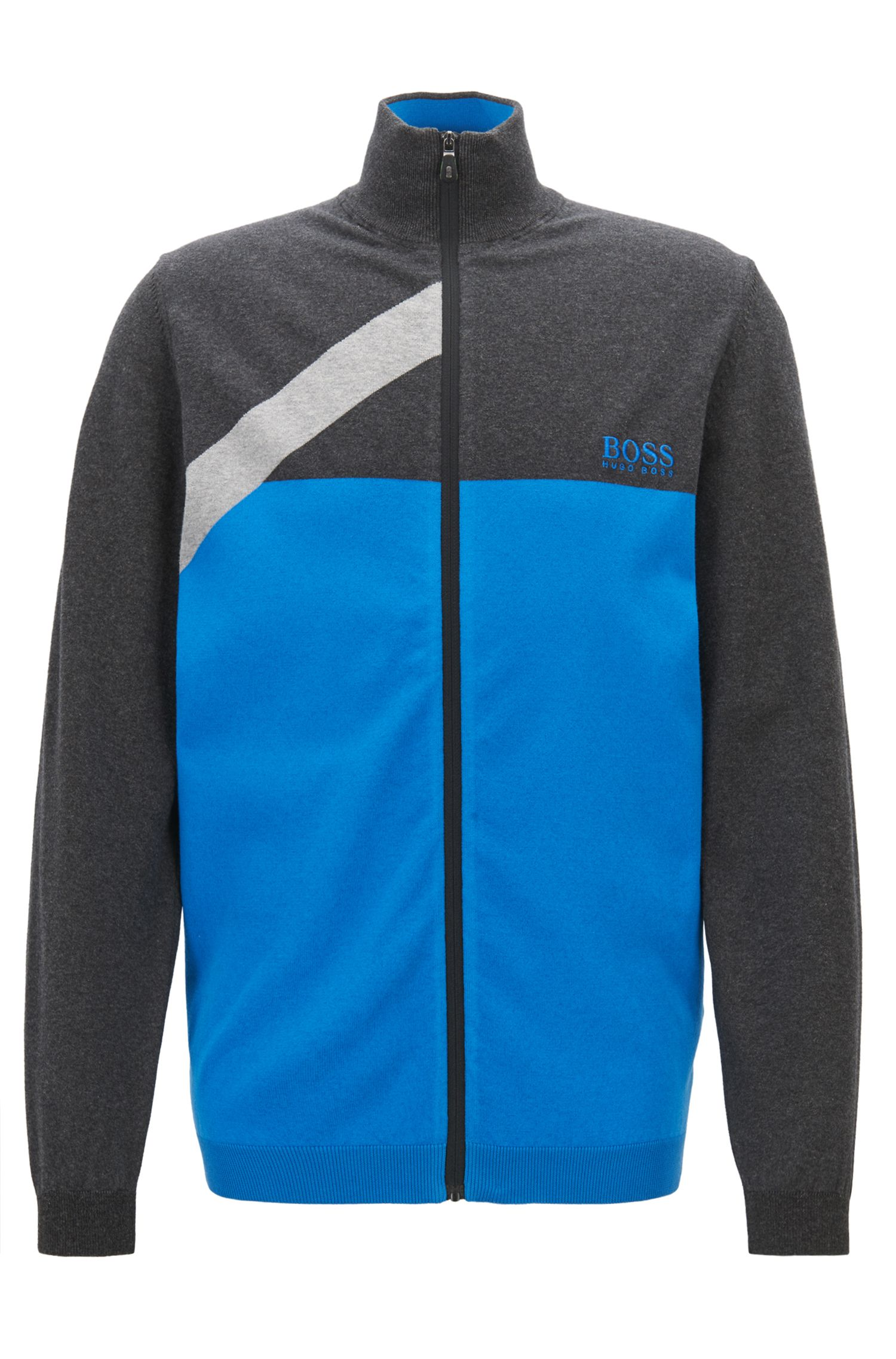 Water-repellent zippered sweater with asymmetric color-block