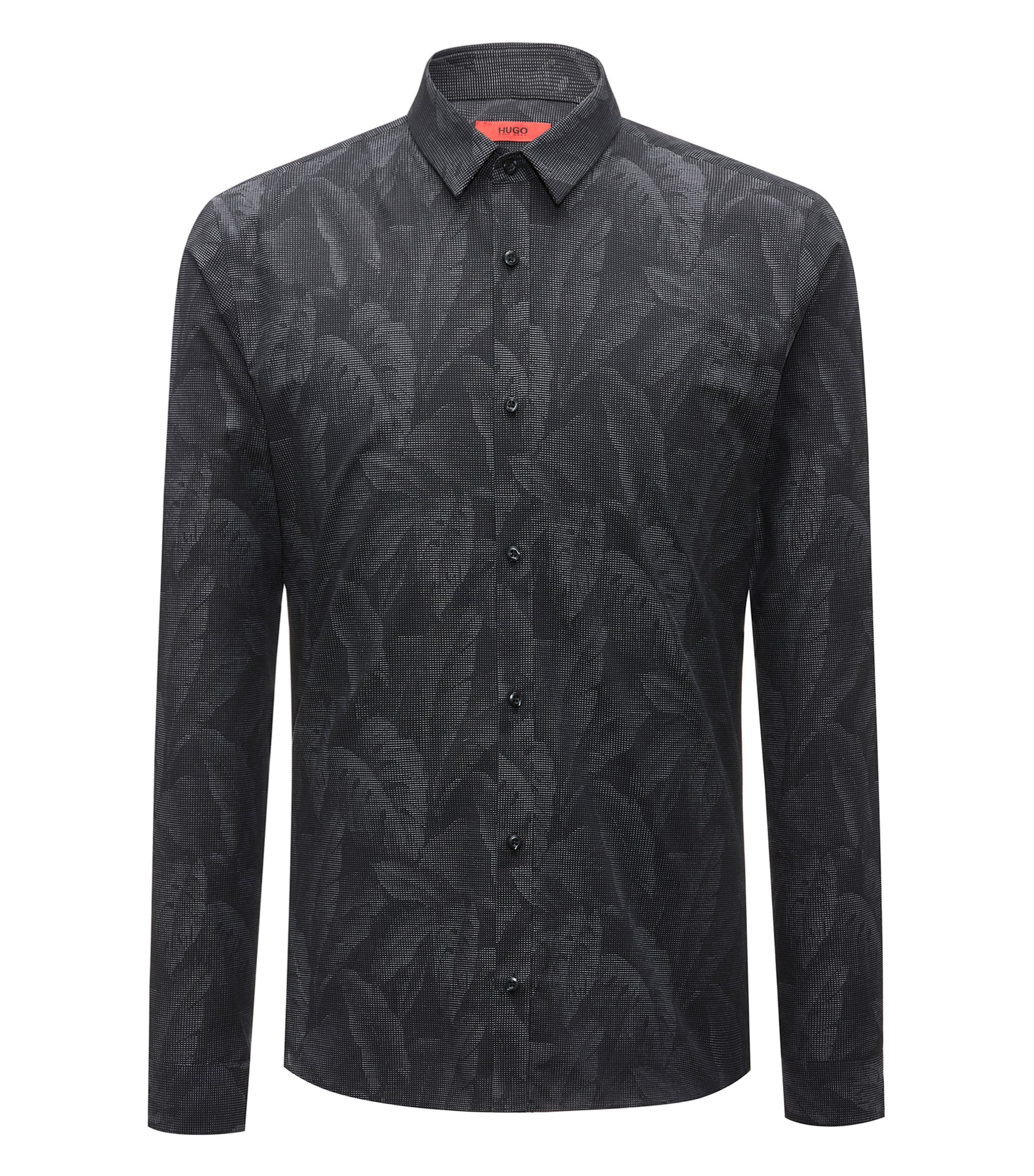 Slim-fit cotton shirt with jacquard banana-leaf pattern, Black