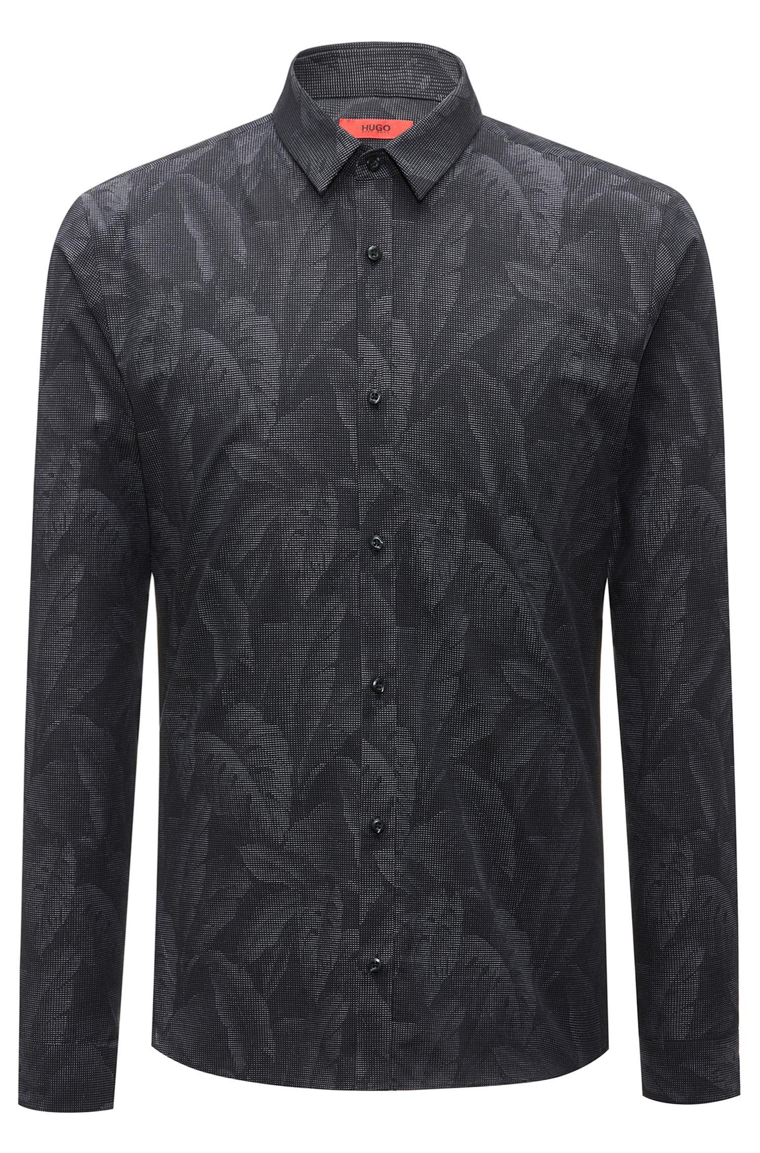 Slim-fit cotton shirt with jacquard banana-leaf pattern