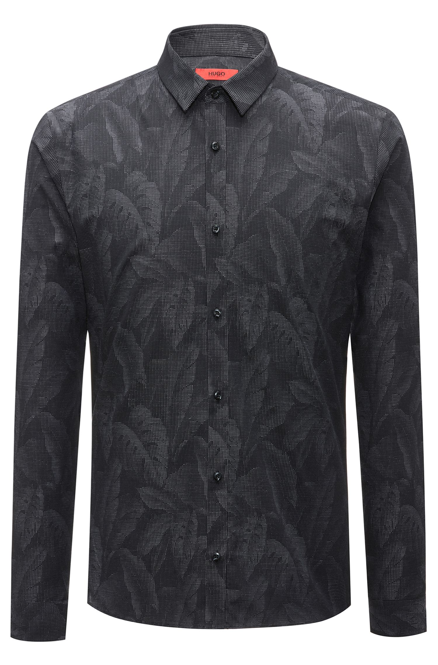 Slim-fit cotton shirt with jacquard banana-leaf pattern