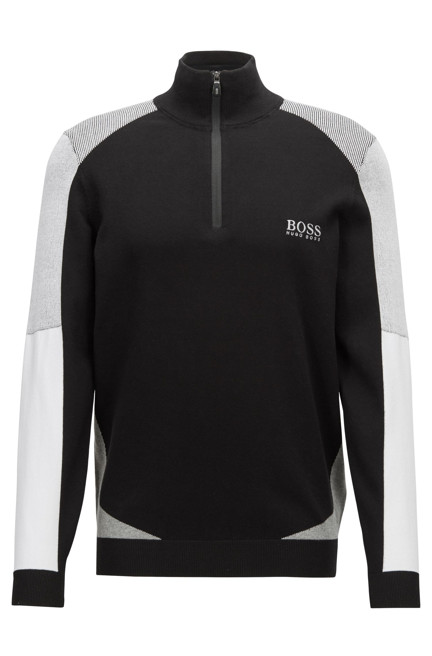 Color-block sweater in a water-repellent cotton blend, Black