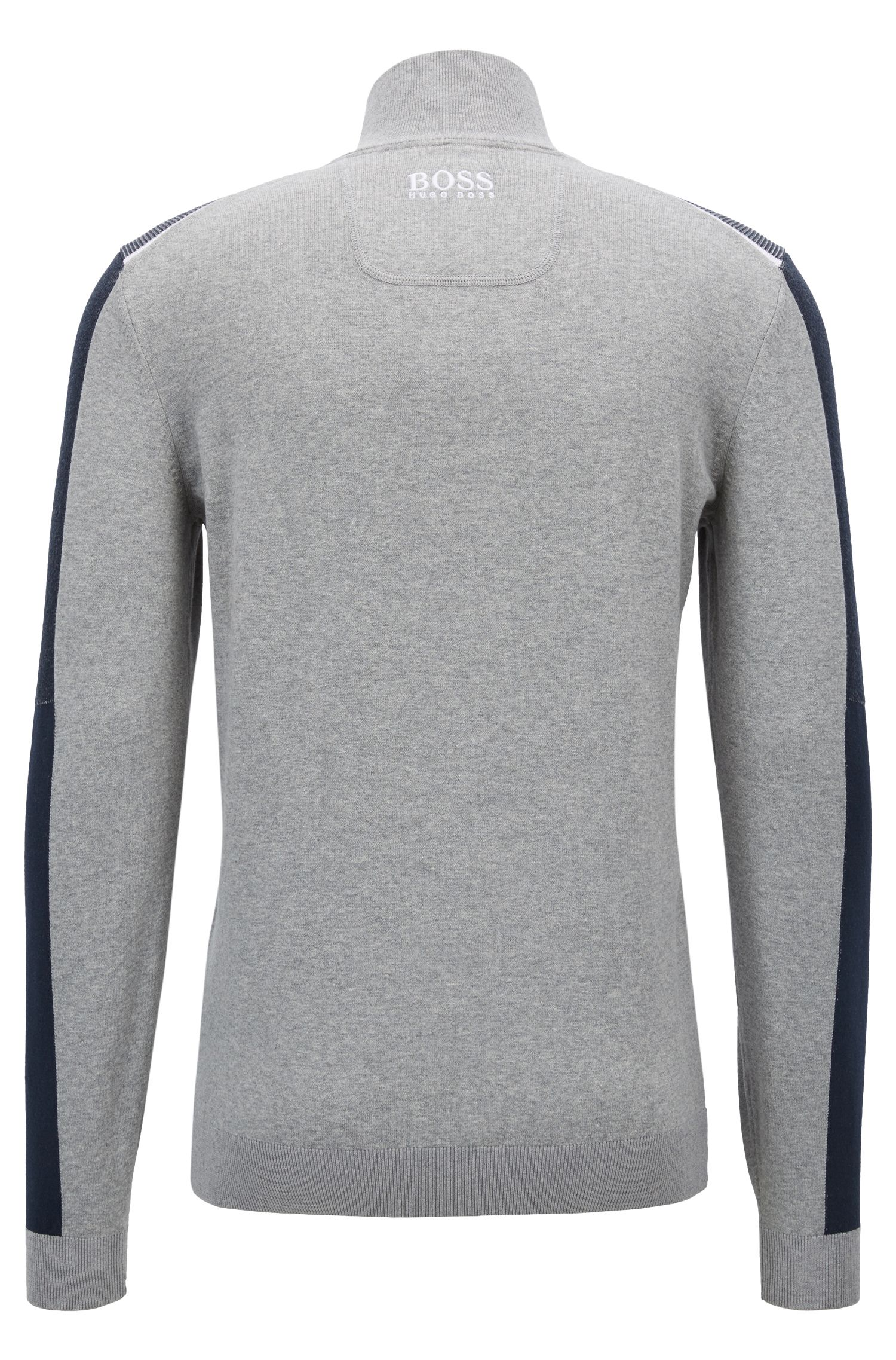 Color-block sweater in a water-repellent cotton blend