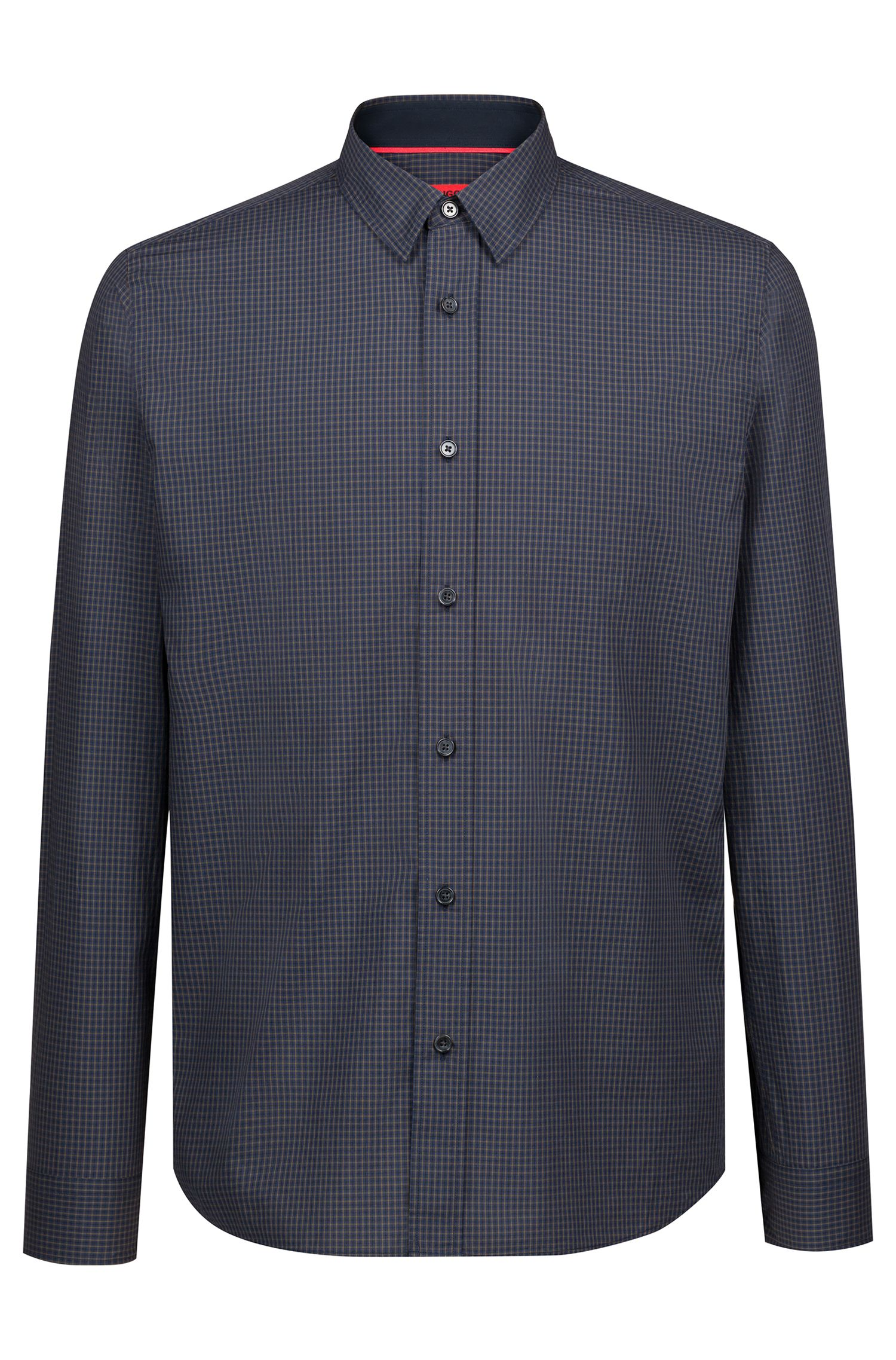 Relaxed-fit shirt in cotton tweed with heathered check pattern, Dark Green