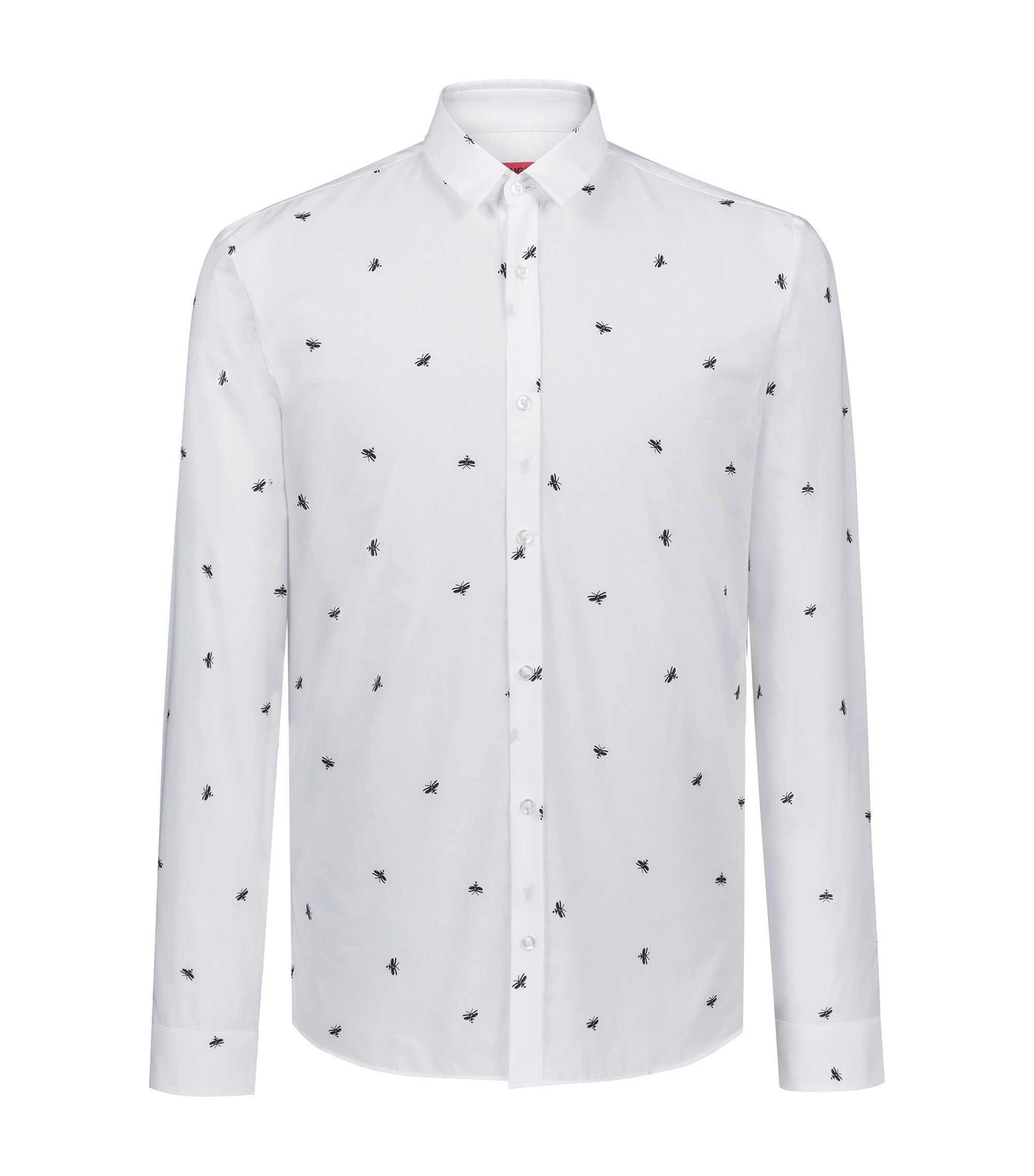 Extra-slim-fit cotton shirt with firefly print, Open White