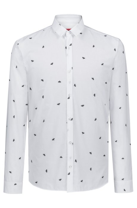 627245eef HUGO - Extra-slim-fit cotton shirt with firefly print